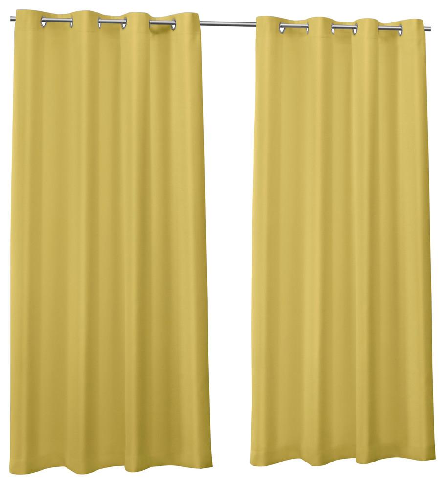 """Canvas Indoor/outdoor Grommet Top Curtain Panels, Set Of 2, Butter, 54""""x108"""" Within Indoor/outdoor Solid Cabana Grommet Top Curtain Panel Pairs (View 8 of 20)"""