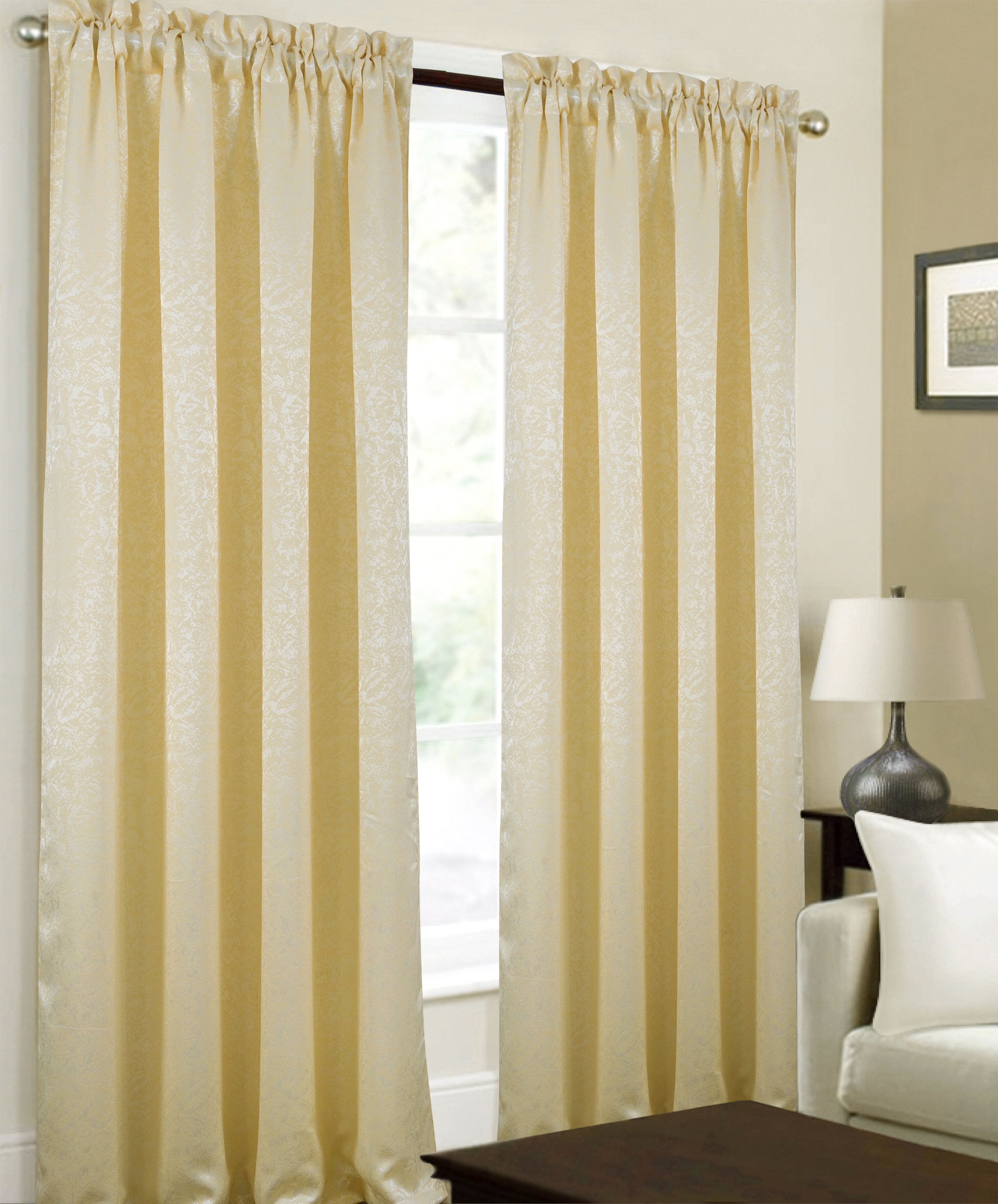 Capel Textured Jacquard Abstract Semi Sheer Rod Pocket Curtain Panels Throughout Abstract Blackout Curtain Panel Pairs (Image 2 of 22)