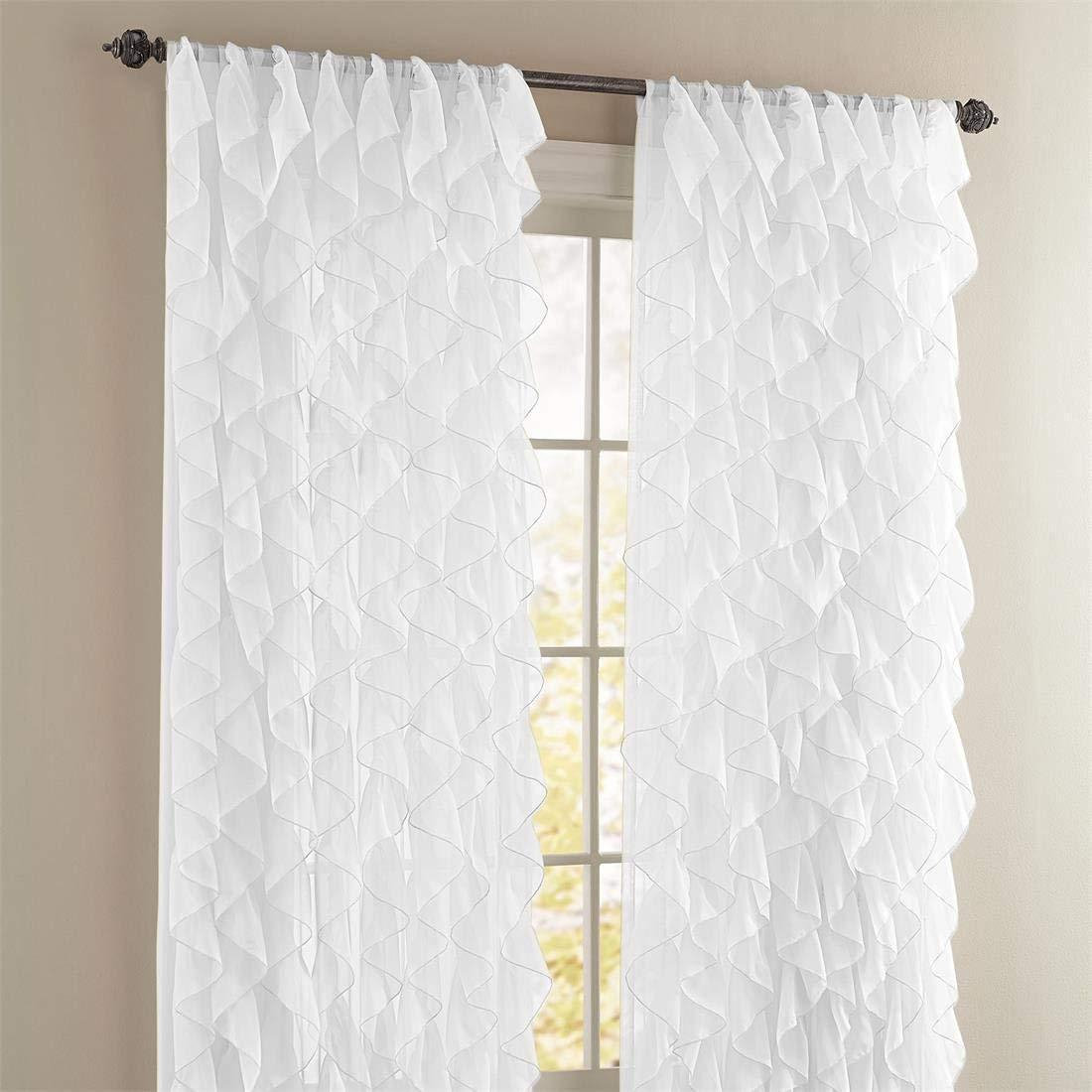 "Cascade Ruffled Curtain Panel, 50"" Wide84"" Long, White, Lorraine Home In Sheer Voile Waterfall Ruffled Tier Single Curtain Panels (View 12 of 20)"