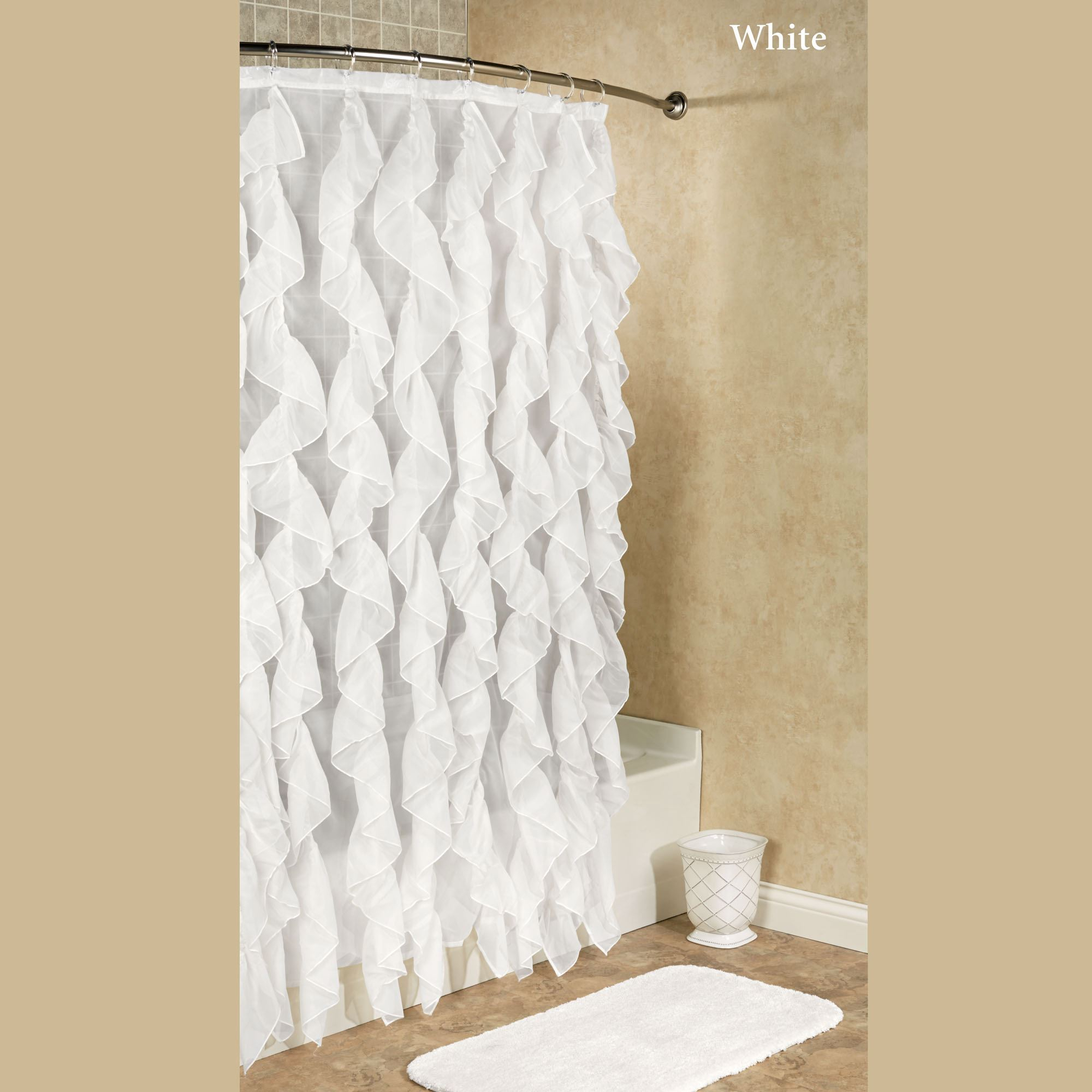 Cascade Ruffled Voile Shower Curtain In Sheer Voile Waterfall Ruffled Tier Single Curtain Panels (View 13 of 20)