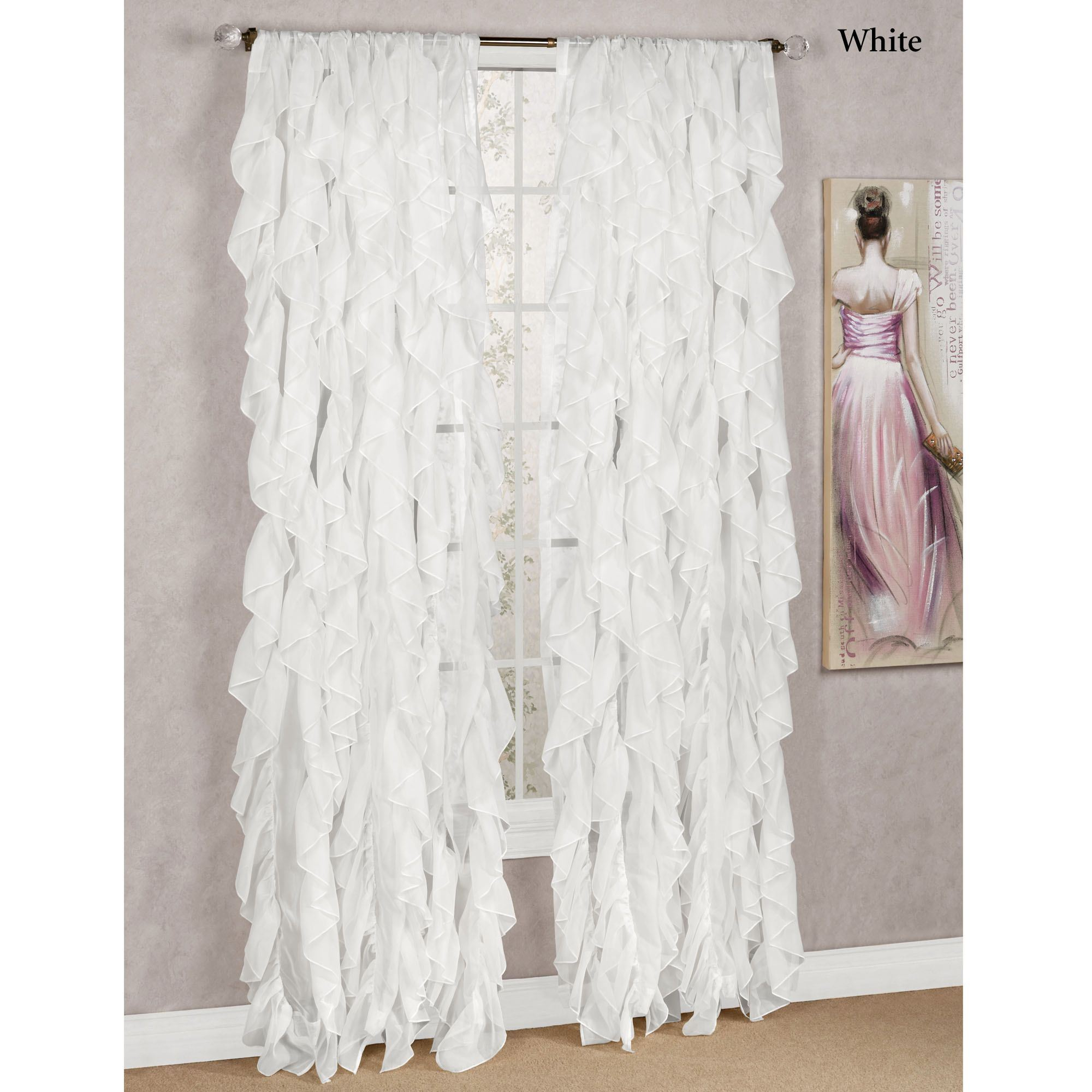 Cascade Sheer Voile Ruffled Window Treatment Throughout Sheer Voile Ruffled Tier Window Curtain Panels (View 2 of 20)