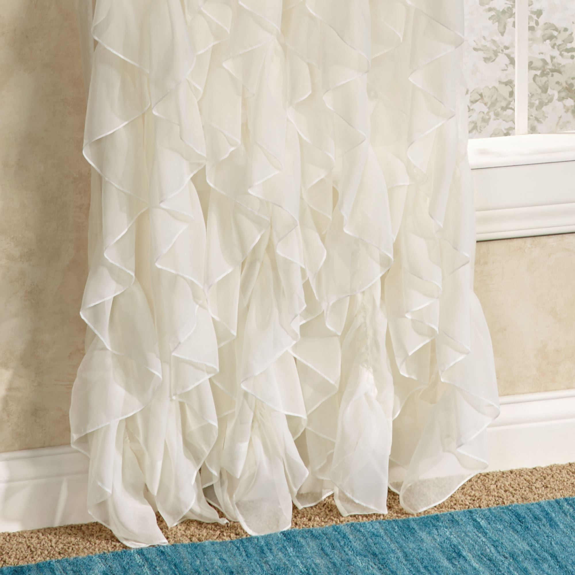 Cascade Sheer Voile Ruffled Window Treatment Throughout Sheer Voile Ruffled Tier Window Curtain Panels (View 1 of 20)