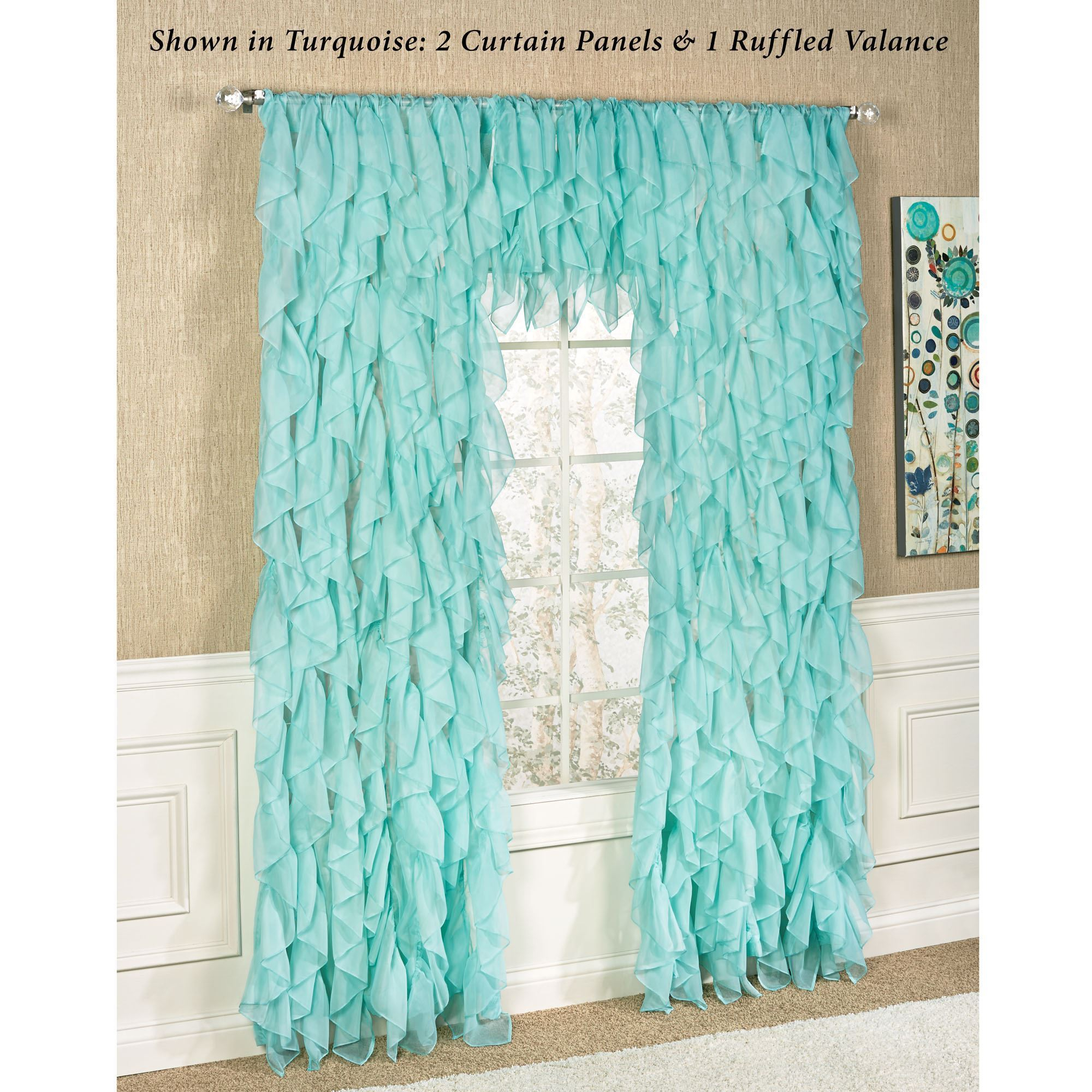 Cascade Sheer Voile Ruffled Window Treatment Within Sheer Voile Ruffled Tier Window Curtain Panels (View 4 of 20)