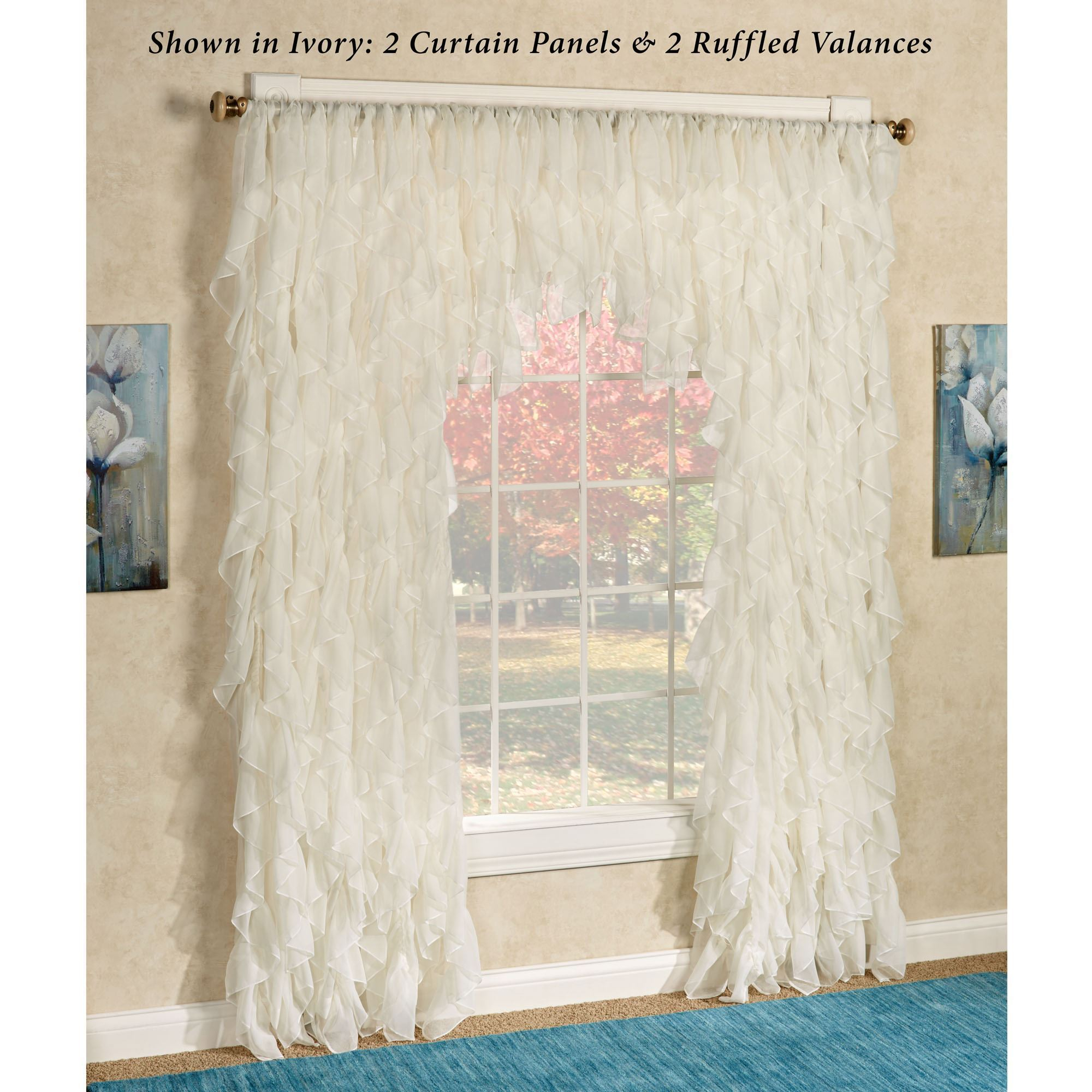 Cascade Sheer Voile Ruffled Window Treatment Within Sheer Voile Ruffled Tier Window Curtain Panels (View 3 of 20)