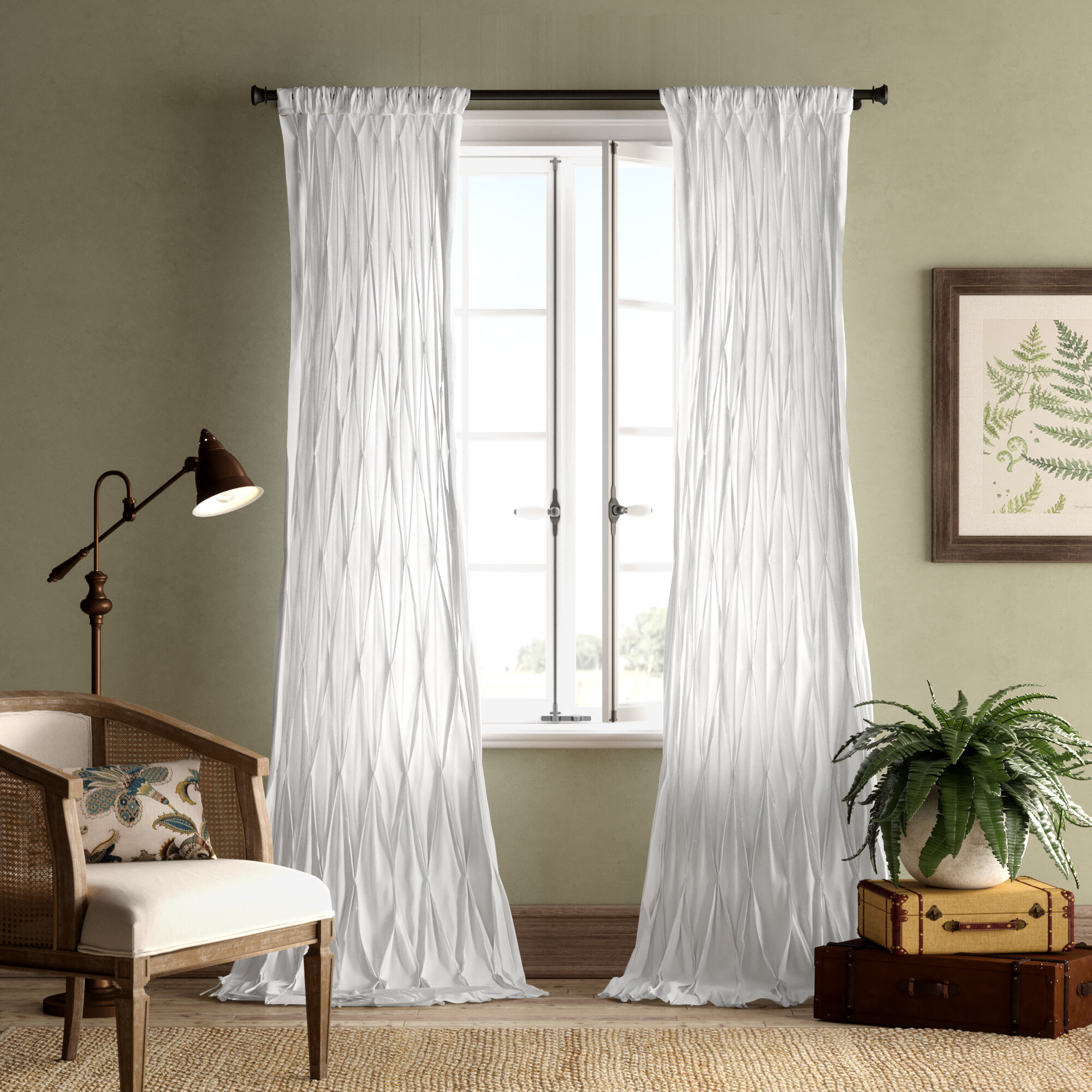 Casimiro Cotton Voile Solid Sheer Pinch Pleat Single Curtain Panel Intended For Solid Cotton Curtain Panels (View 13 of 30)