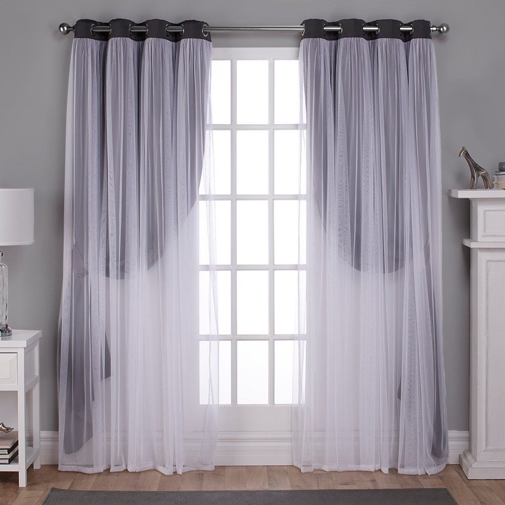 Caterina Layered Solid Blackout With Sheer Top Curtain For Catarina Layered Curtain Panel Pairs With Grommet Top (View 9 of 20)