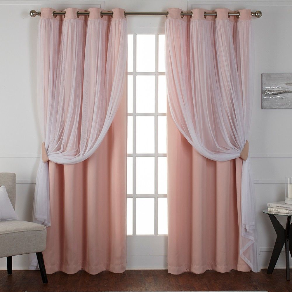 Caterina Layered Solid Blackout With Sheer Top Curtain In Catarina Layered Curtain Panel Pairs With Grommet Top (View 20 of 20)