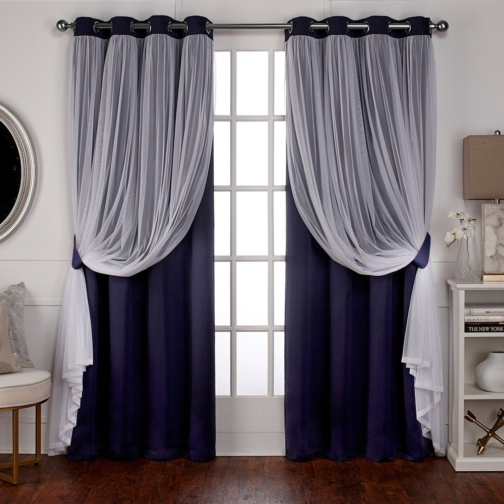 Caterina Layered Solid Blackout With Sheer Top Curtain Regarding Catarina Layered Curtain Panel Pairs With Grommet Top (View 14 of 20)