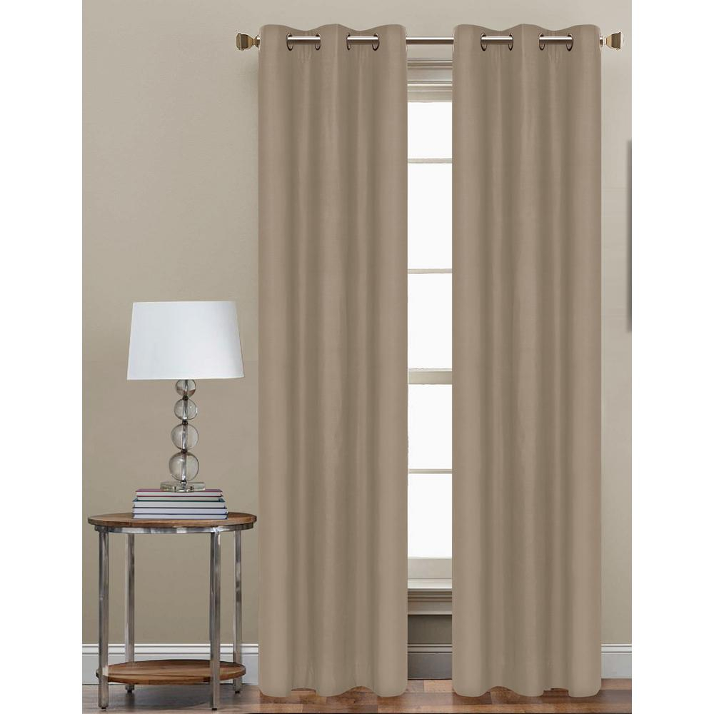 Cathay Home 84 In. L Polyester Form Blackout Grommet Curtain Panel In Taupe  (Set Of 2) inside Grommet Curtain Panels (Image 8 of 20)