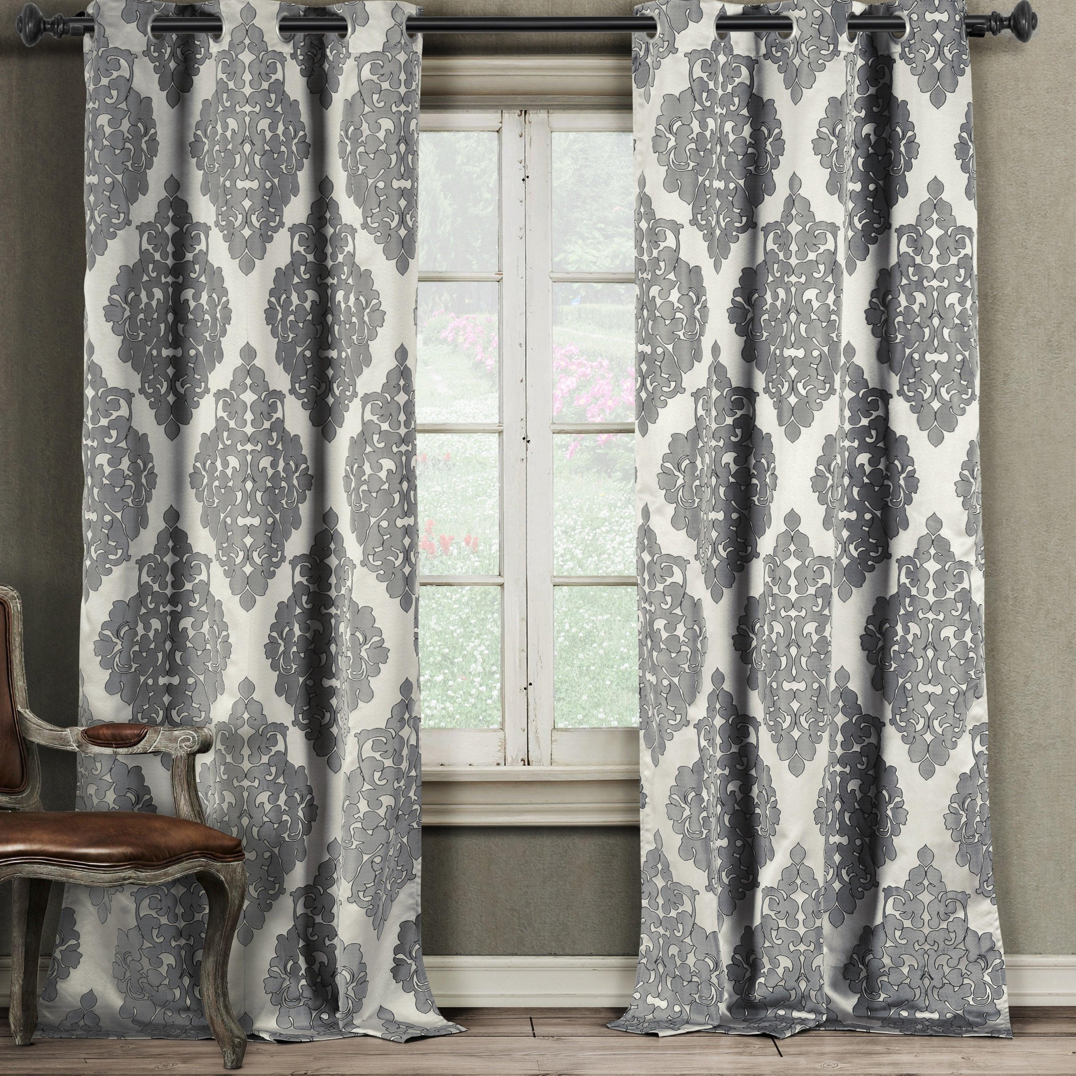 Catilie Grommet Window Curtain Panel Pair Set Of Two Intended For Pastel Damask Printed Room Darkening Grommet Window Curtain Panel Pairs (View 7 of 20)