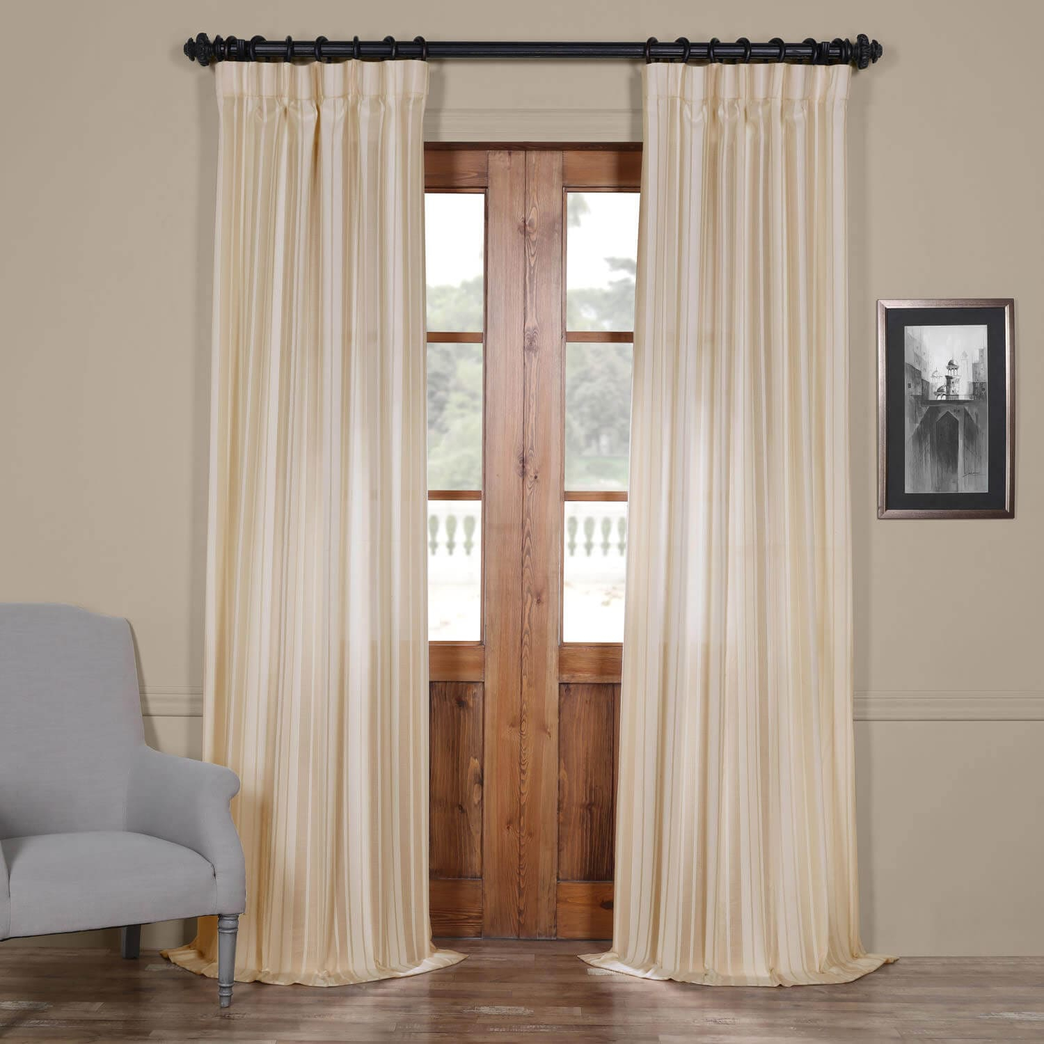 Cayman Natural Striped Linen Sheer Curtain In Solid Faux Silk Taffeta Graphite Single Curtain Panels (View 4 of 30)