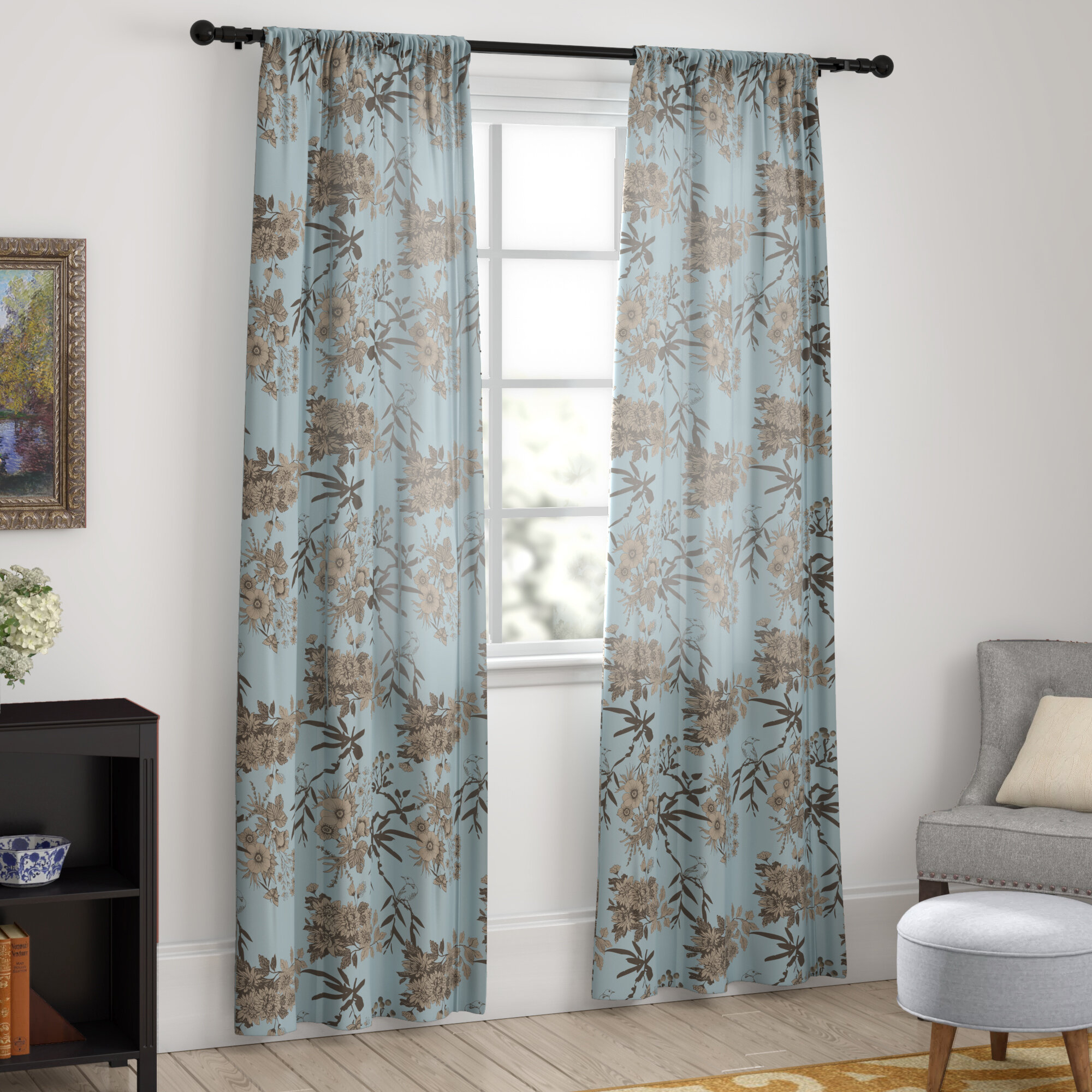Chapin Floral Room Darkening Thermal Rod Pocket Curtain Panels Throughout Whitman Curtain Panel Pairs (View 20 of 30)