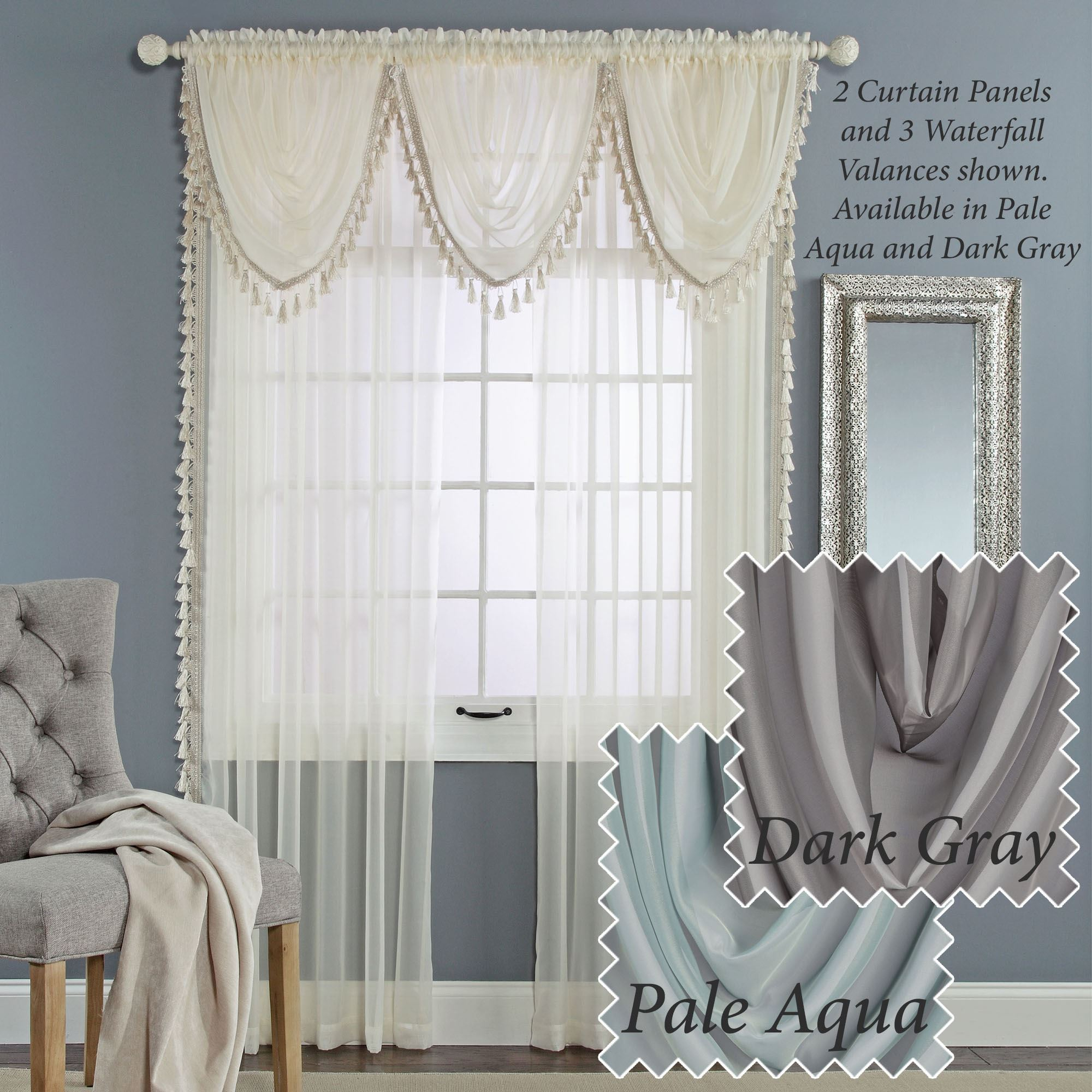 Charlotte Sheer Voile Window Treatment With Sheer Voile Waterfall Ruffled Tier Single Curtain Panels (View 9 of 20)