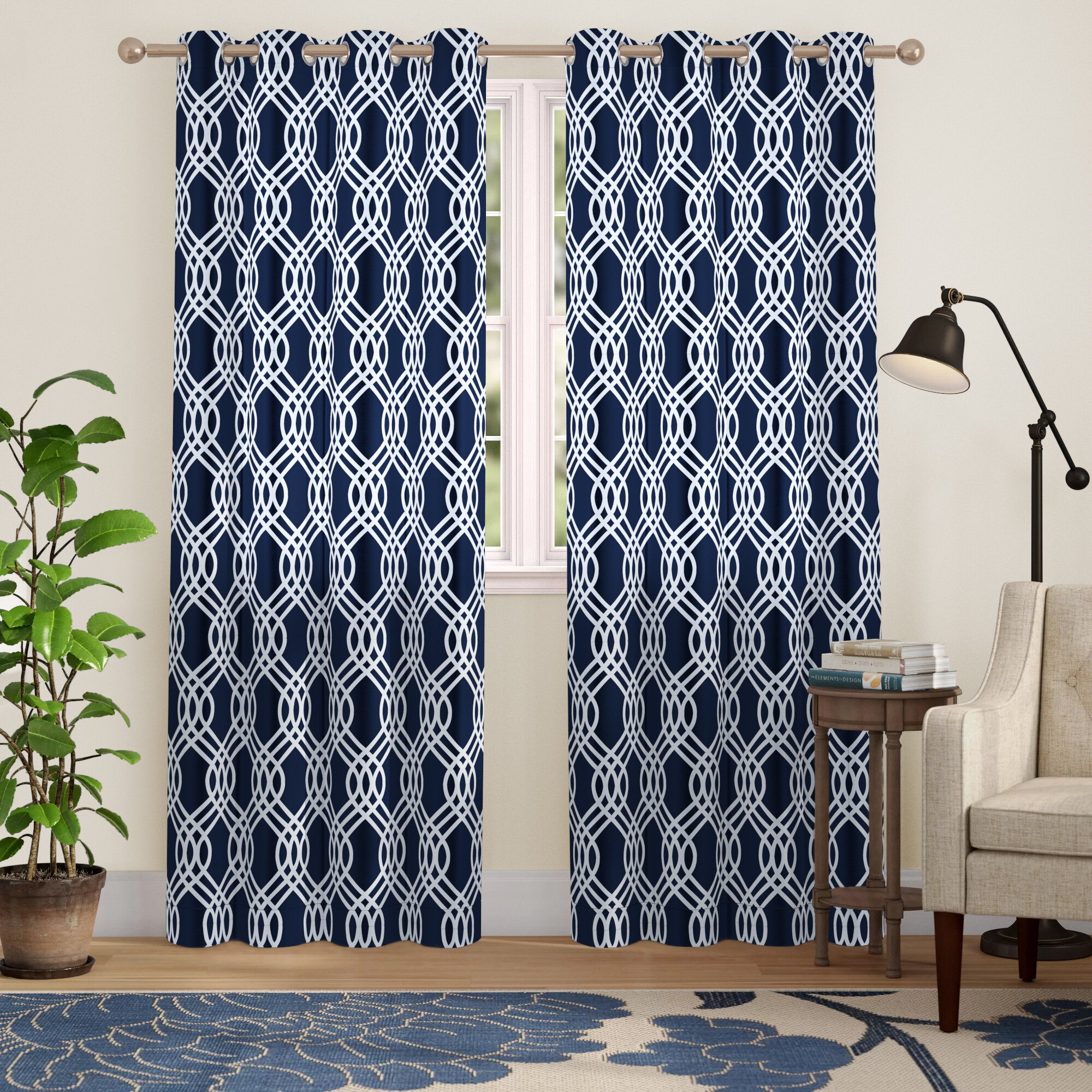 Charlton Home Kinlaw Geometric Blackout Thermal Grommet For Thermal Woven Blackout Grommet Top Curtain Panel Pairs (View 21 of 30)