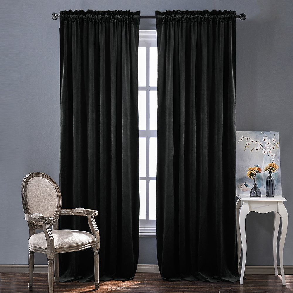 Cheap Black Velvet Blackout Curtains, Find Black Velvet Pertaining To Warm Black Velvet Single Blackout Curtain Panels (View 20 of 30)