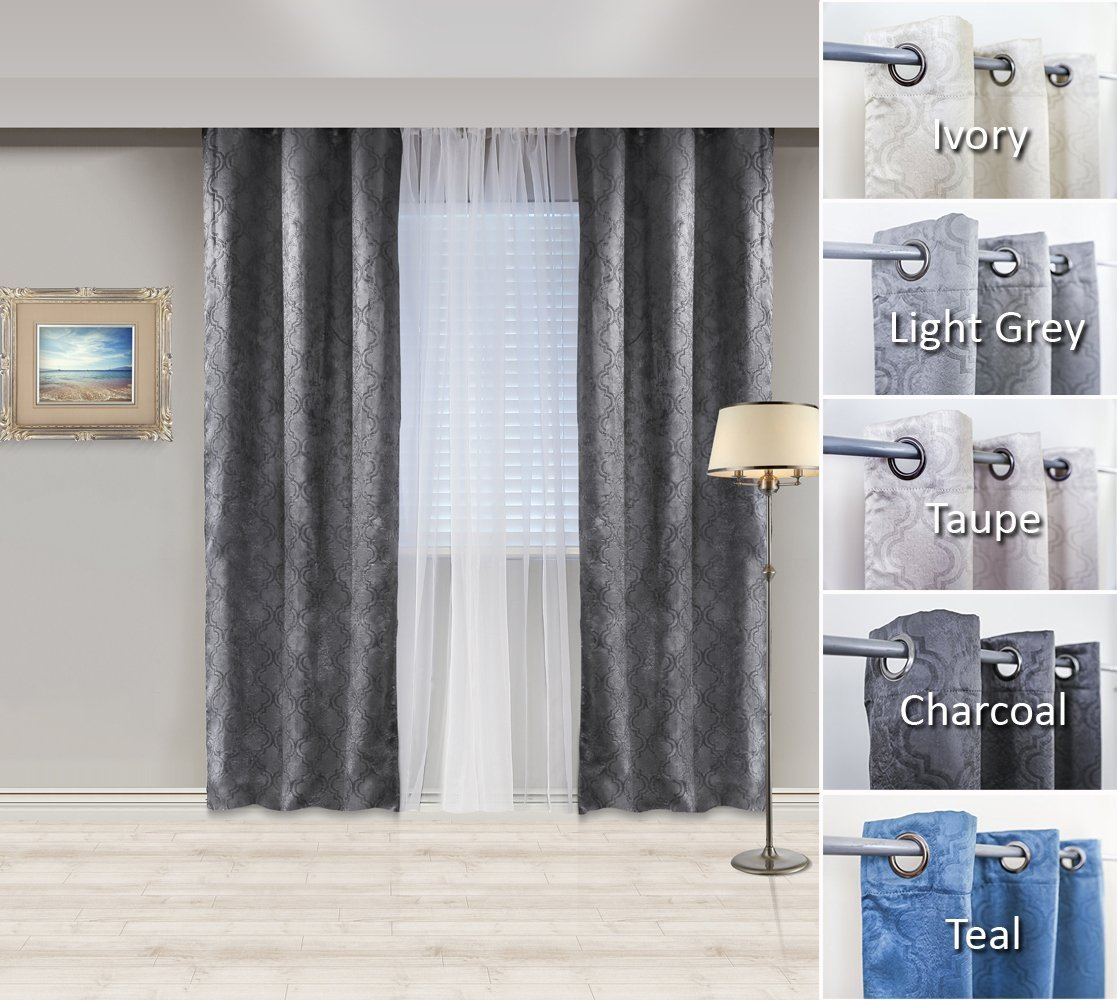 Cheap Embossed Curtain Fabric Blackout, Find Embossed With Embossed Thermal Weaved Blackout Grommet Drapery Curtains (View 8 of 20)