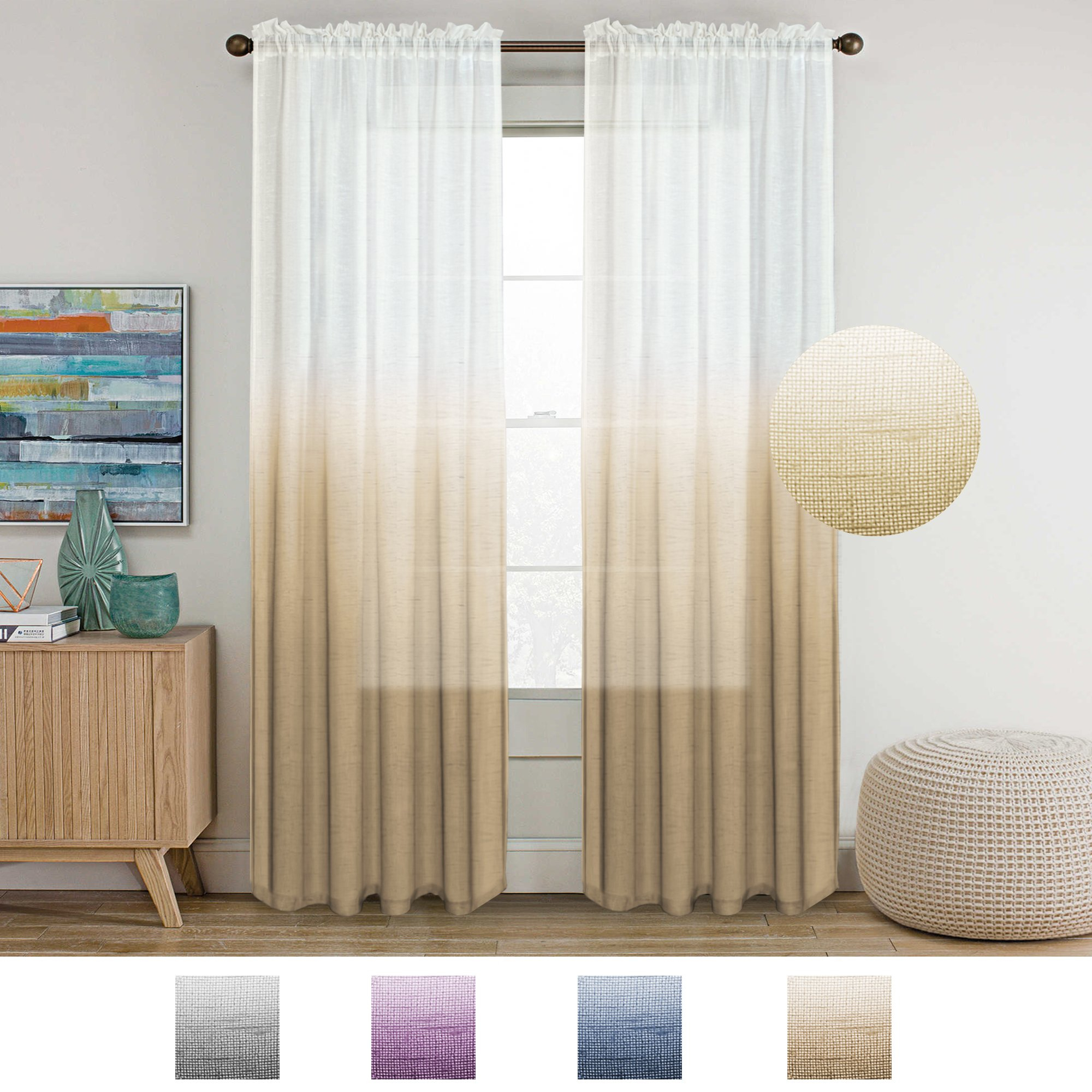 Cheap Natural Linen Sheer Curtains, Find Natural Linen Sheer Intended For Elegant Comfort Window Sheer Curtain Panel Pairs (View 19 of 20)