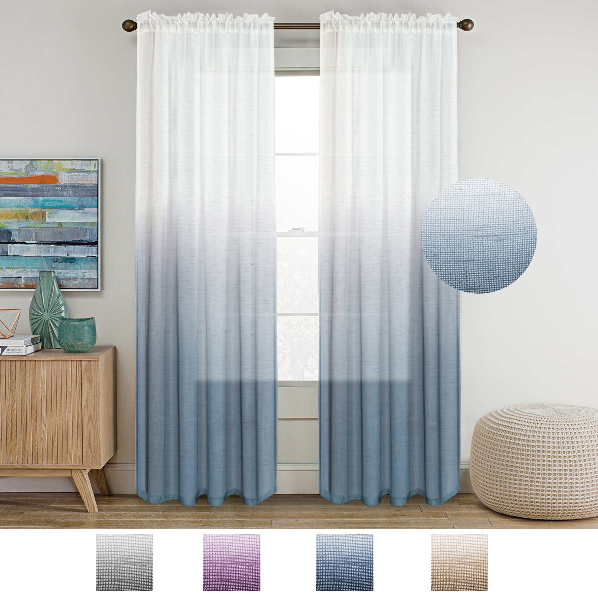 Cheap Natural Linen Sheer Curtains, Find Natural Linen Sheer Throughout Ombre Embroidery Curtain Panels (View 17 of 20)