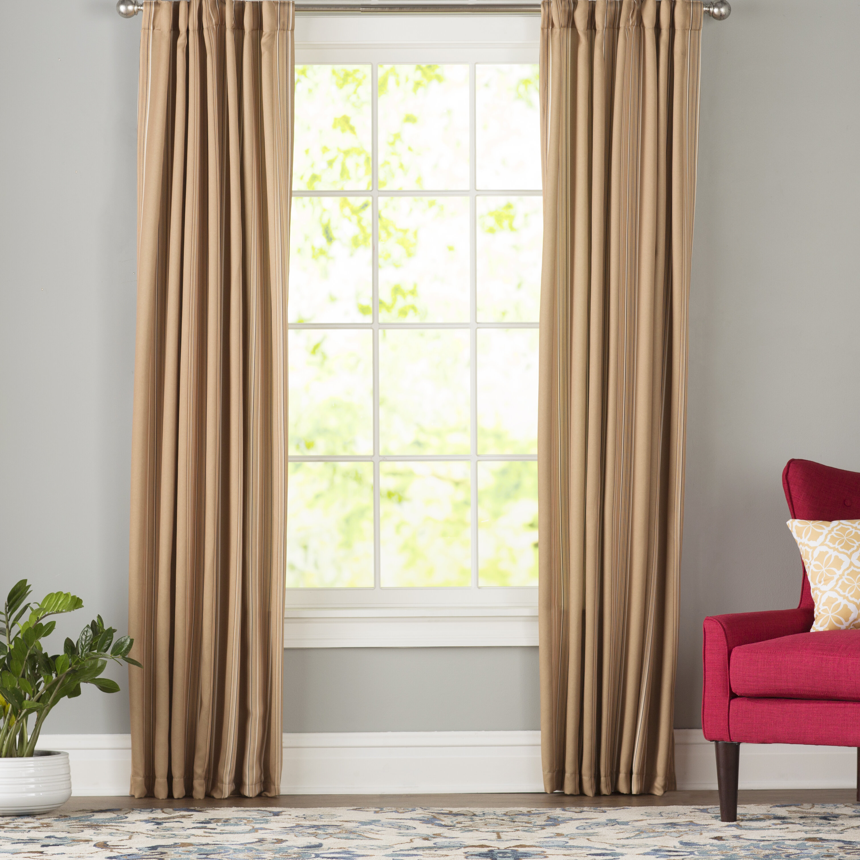 Cheesman Striped Room Darkening Thermal Rod Pocket Curtain Panels With Dolores Room Darkening Floral Curtain Panel Pairs (View 15 of 20)