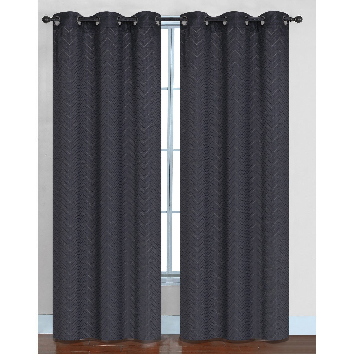 Chevron Faux Silk Blackout Grommet Top 84 Inch Curtain Panel Pair – 76 X 84 Within Chevron Blackout Grommet Curtain Panels (View 6 of 20)