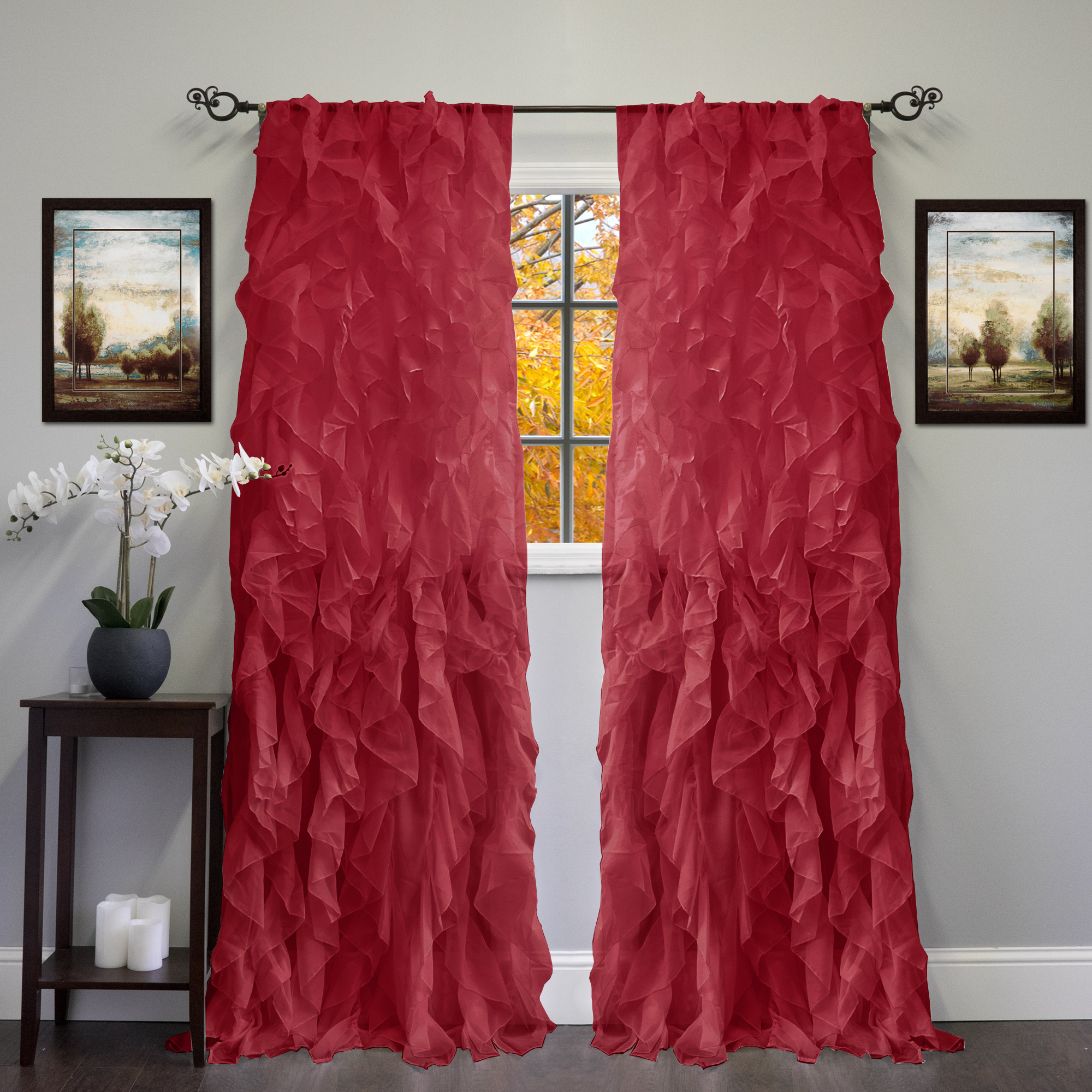 "Chic Sheer Voile Vertical Ruffled Tier Window Curtain Single Panel 50"" X 84"" For Sheer Voile Ruffled Tier Window Curtain Panels (View 7 of 20)"