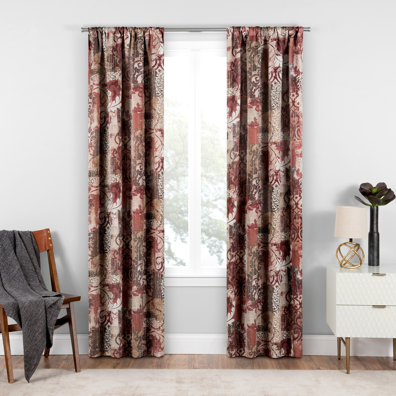 Chiswick Blackout Window Curtain Tuscan/patchwork/floral Within Tuscan Thermal Backed Blackout Curtain Panel Pairs (View 8 of 30)