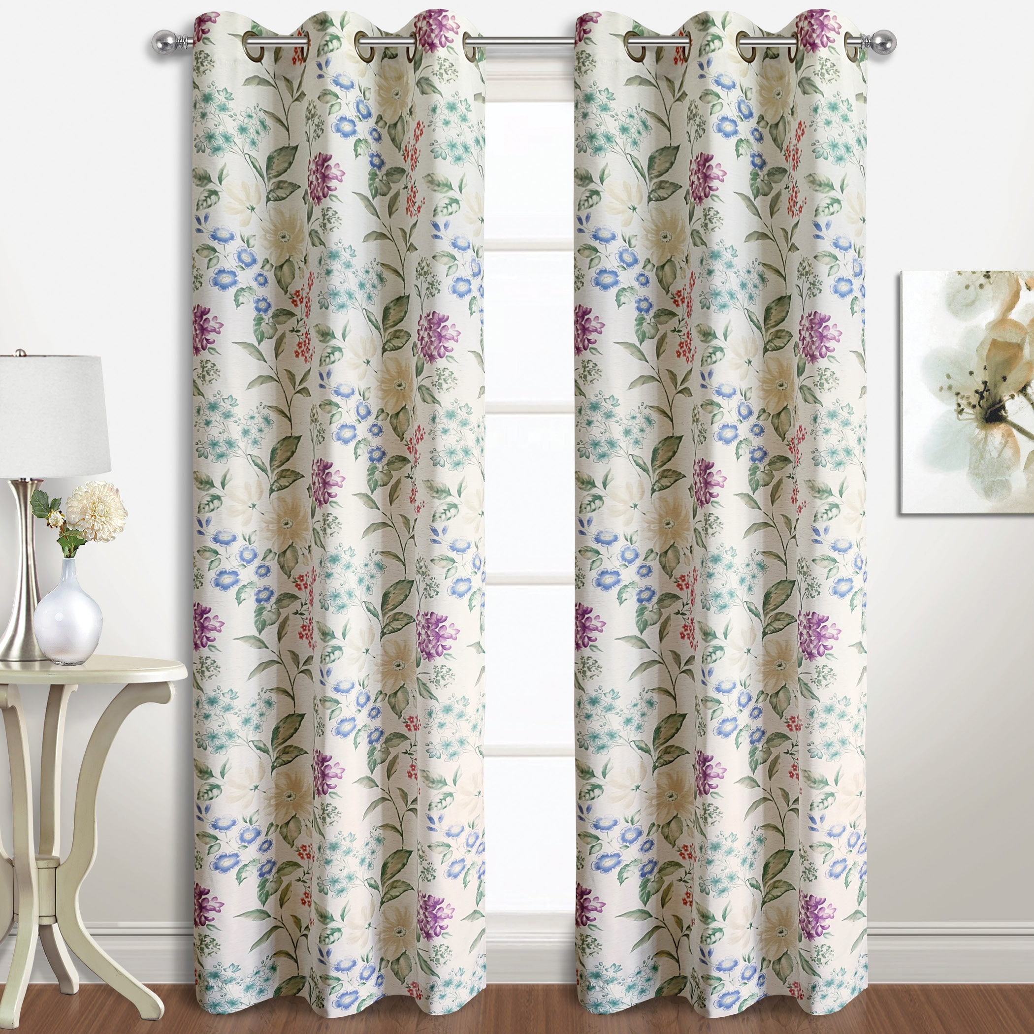 Christine Floral Curtain Panel Pairs For Curtain Panel Pairs (View 11 of 20)
