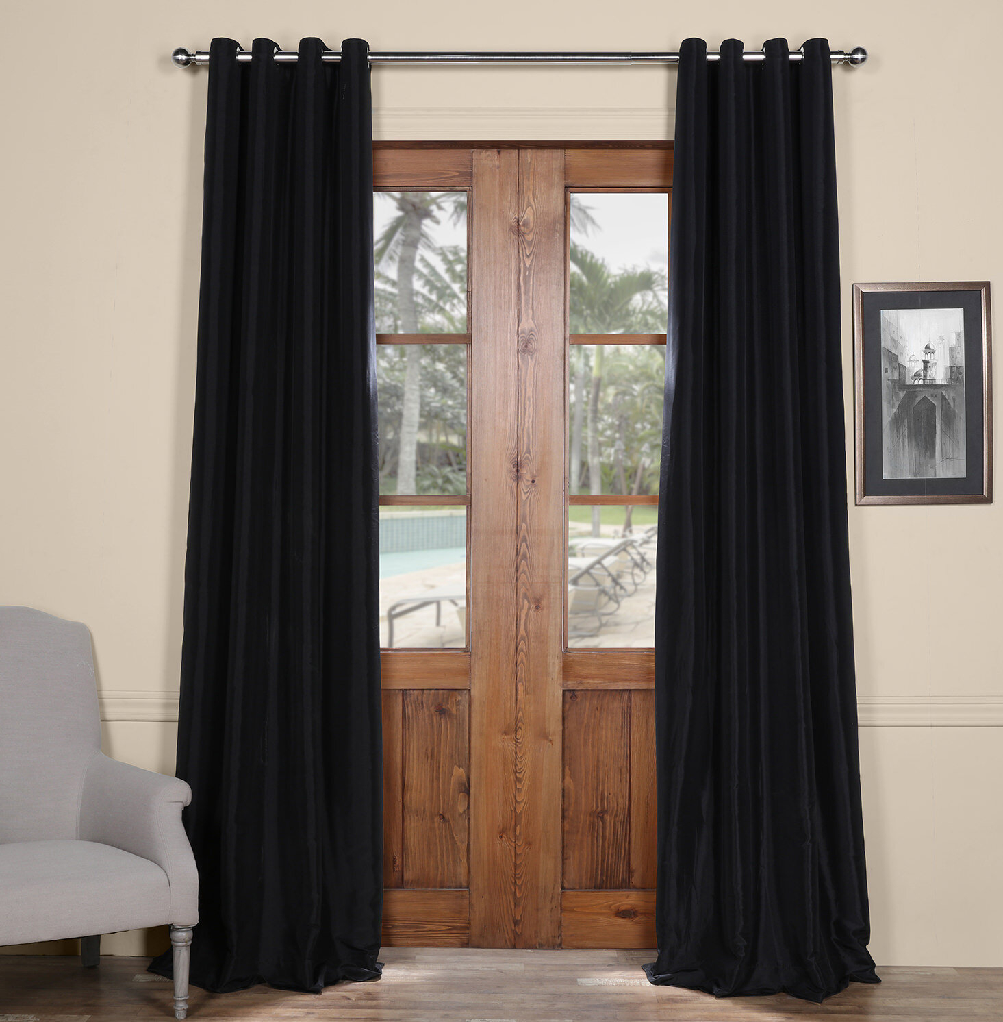 Clapham Solid Blackout Faux Silk Taffeta Thermal Rod Pocket Single Curtain Panel With Faux Silk Taffeta Solid Blackout Single Curtain Panels (View 9 of 20)