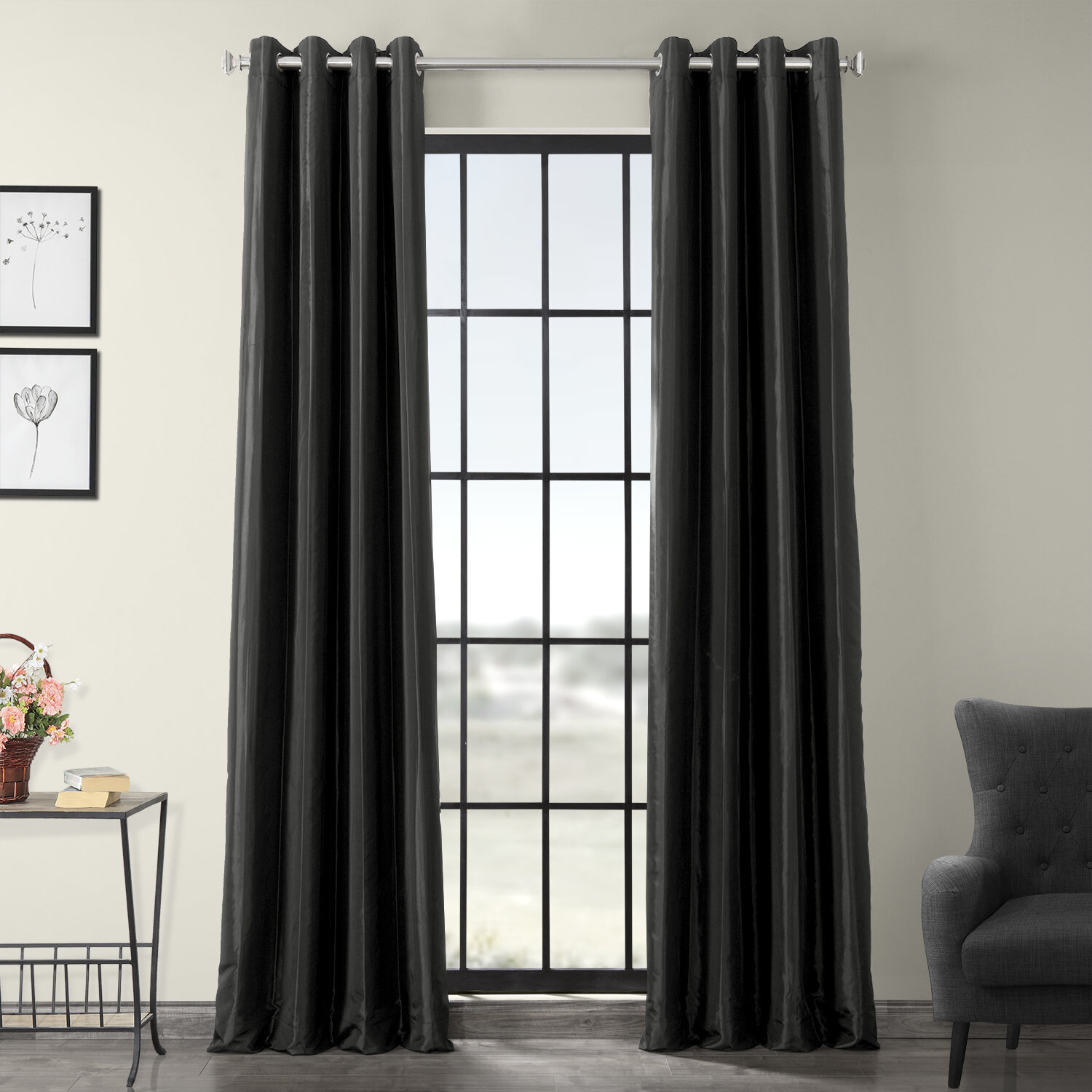 Clapham Solid Blackout Faux Silk Taffeta Thermal Rod Pocket Single Curtain Panel With Regard To Faux Silk Taffeta Solid Blackout Single Curtain Panels (View 12 of 20)