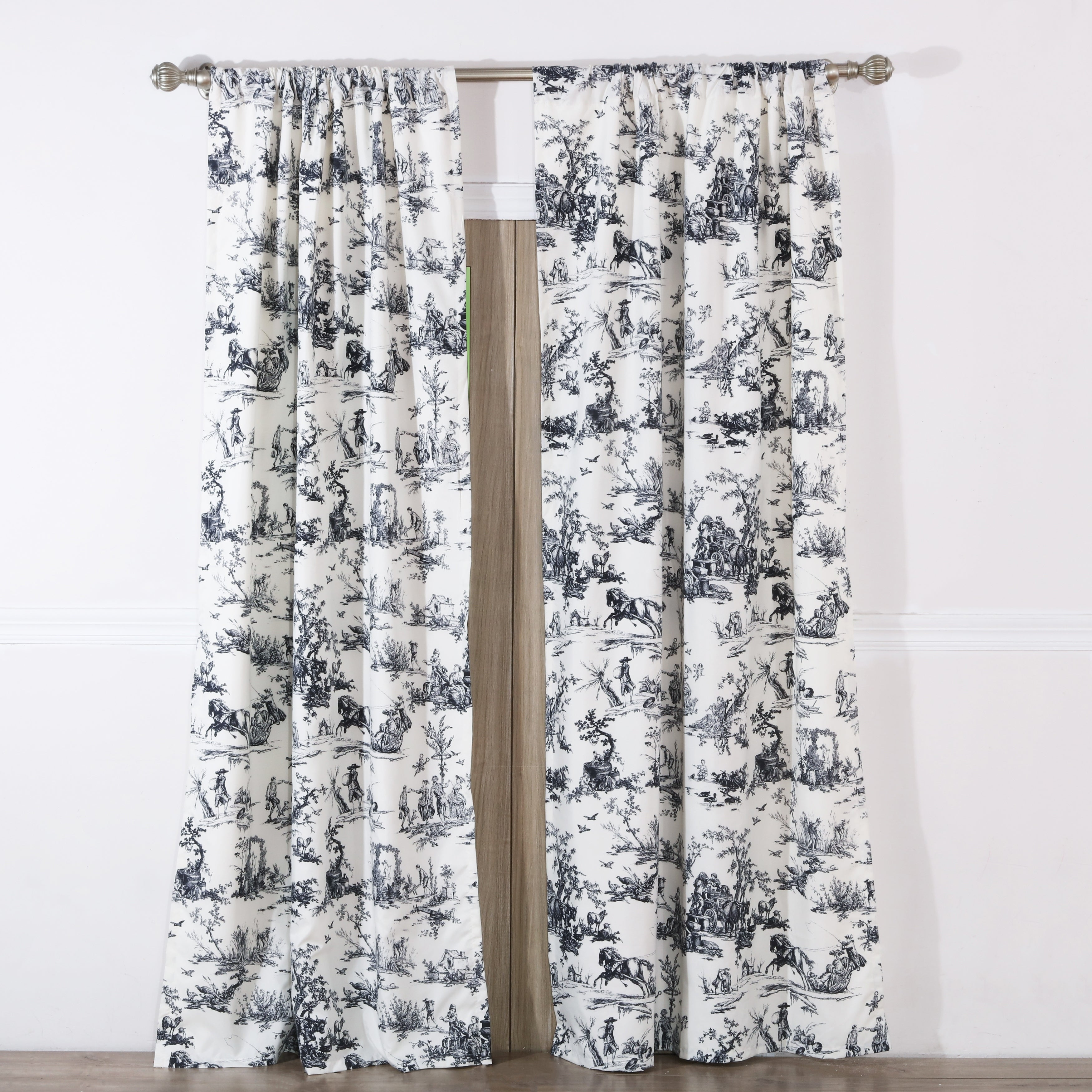 Classic Toile Black Curtain Panel Pair With Tiebacks (set Of Two Panels) Regarding The Gray Barn Kind Koala Curtain Panel Pairs (View 24 of 30)
