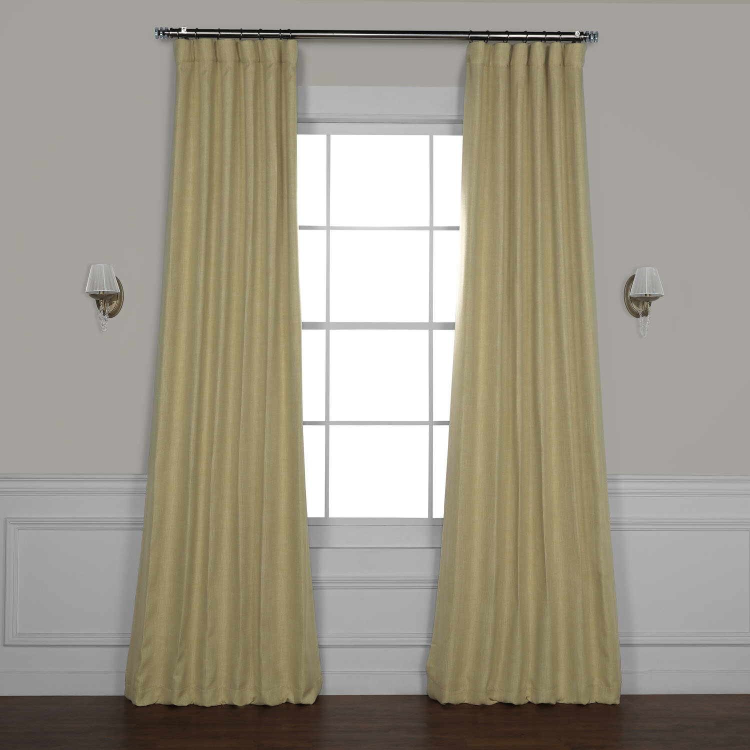 Clem Faux Linen Room Darkening Rod Pocket Single Curtain Panel Within Luxury Collection Faux Leather Blackout Single Curtain Panels (View 11 of 20)
