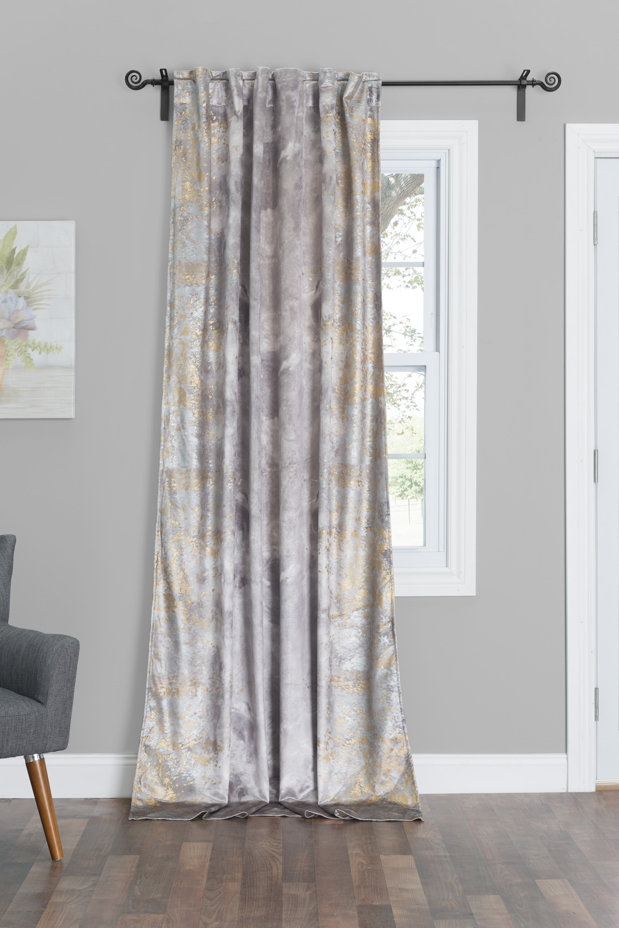 Cloud9 Design Zen Abstract Room Darkening Rod Pocket Single Pertaining To Velvet Dream Silver Curtain Panel Pairs (View 19 of 31)