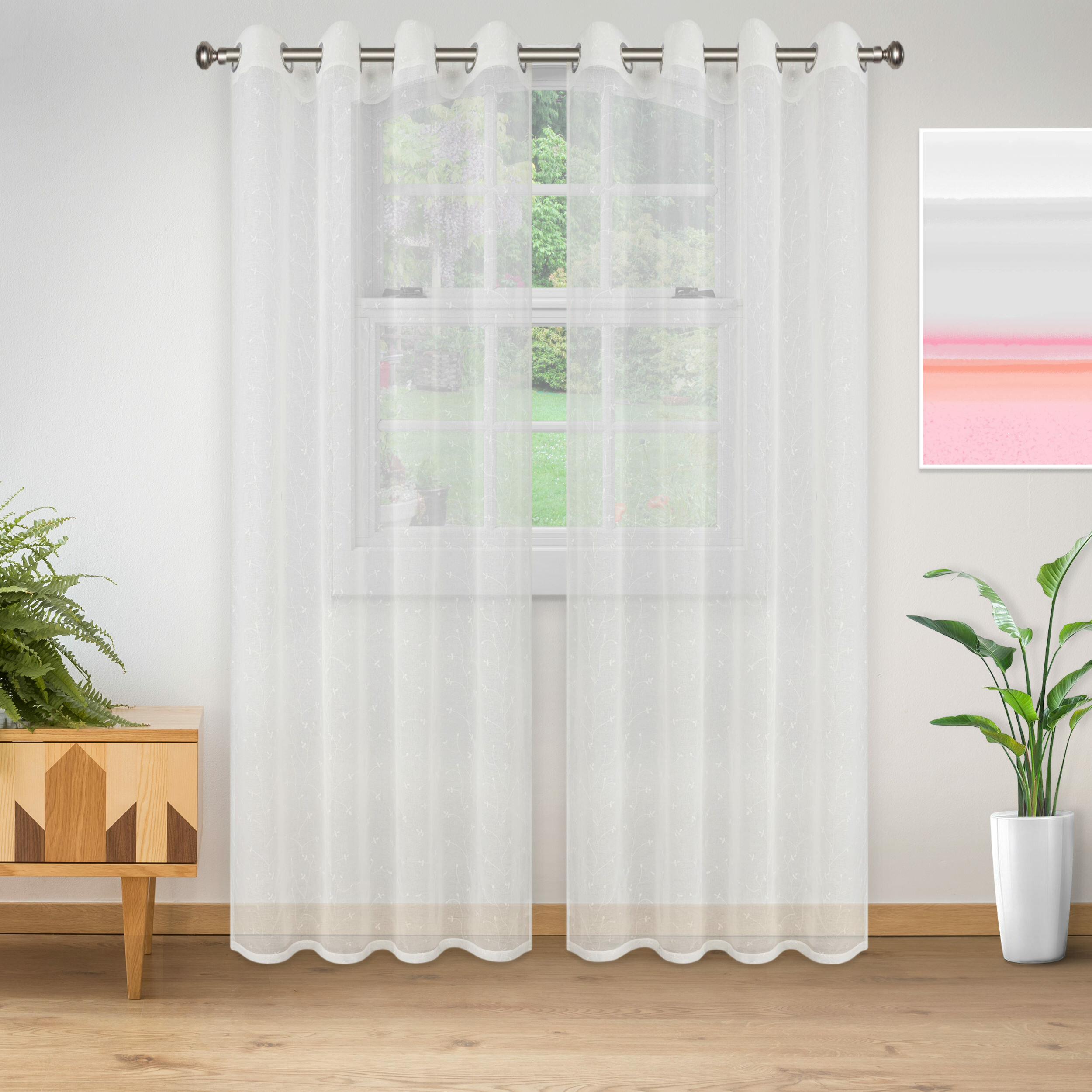 Colena Lightweight Delicate Flower Sheer Grommet Curtain Panels With Regard To Luxury Collection Cranston Sheer Curtain Panel Pairs (View 10 of 20)