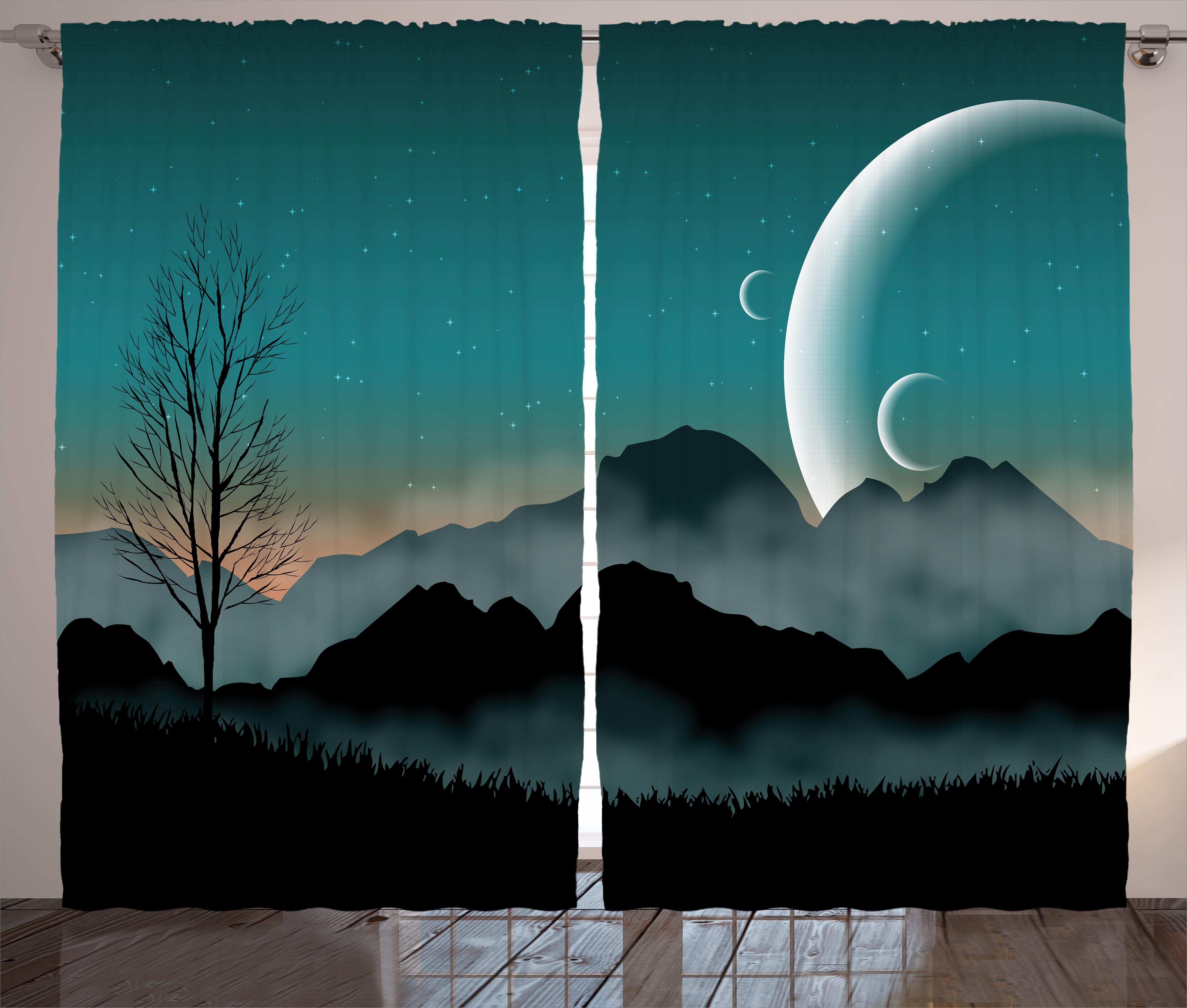 Collado Space Night Sky On Mountain Range Forest Crescent Moon Star Cosmic Infinity Astral Graphic Graphic Print & Text Semi Sheer Rod Pocket Curtain For Infinity Sheer Rod Pocket Curtain Panels (View 3 of 20)