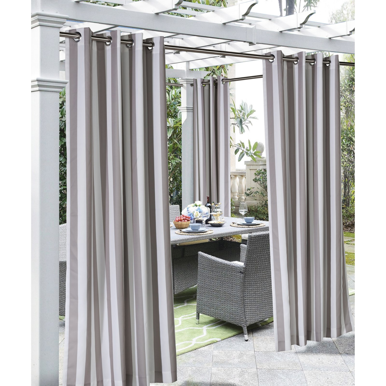 Commonwealth Home Fashions Coastal Stripe Grommet Top Panel For Valencia Cabana Stripe Indoor/outdoor Curtain Panels (View 17 of 30)