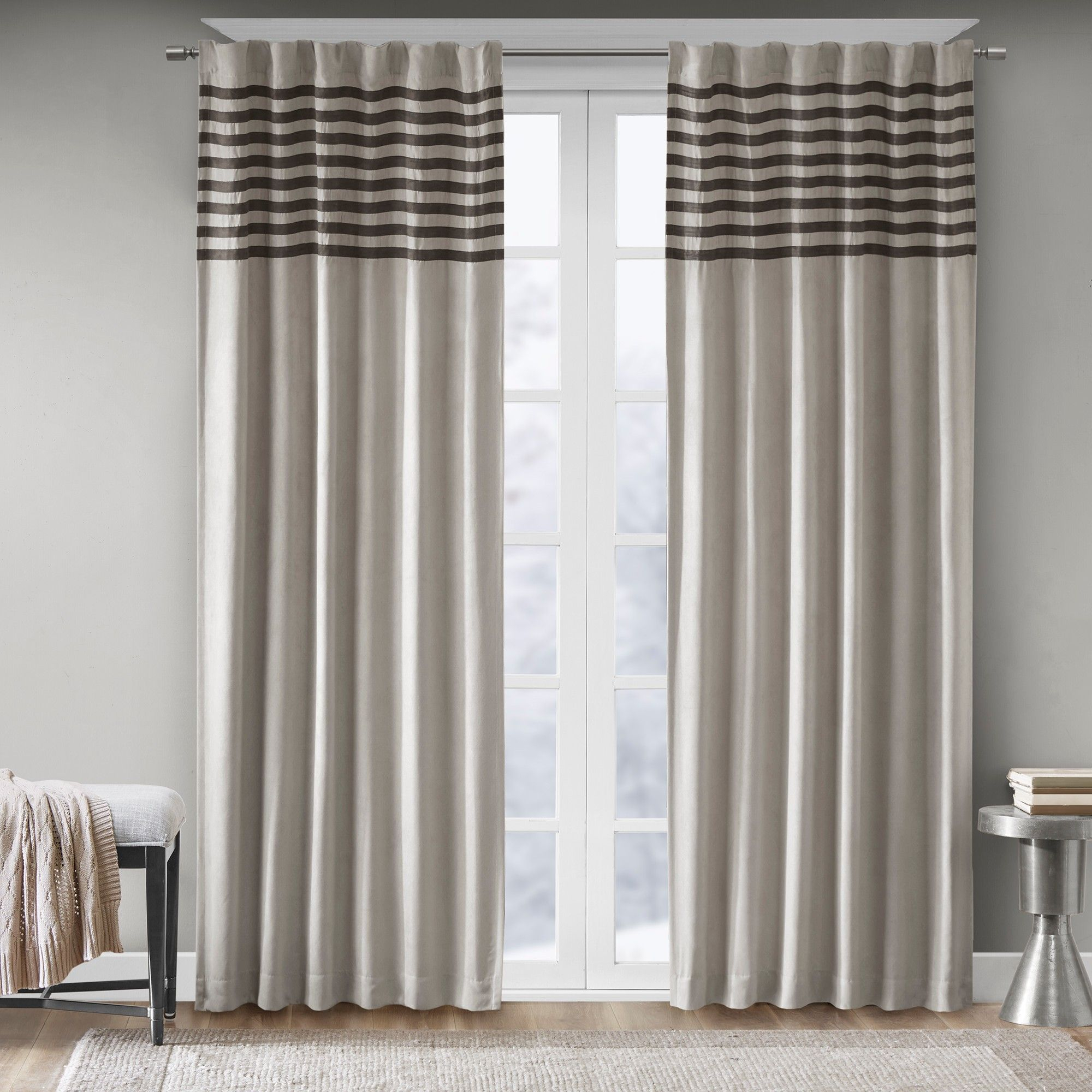 """Connell Curtain Panel Pair Gray 42""""x95"""" 