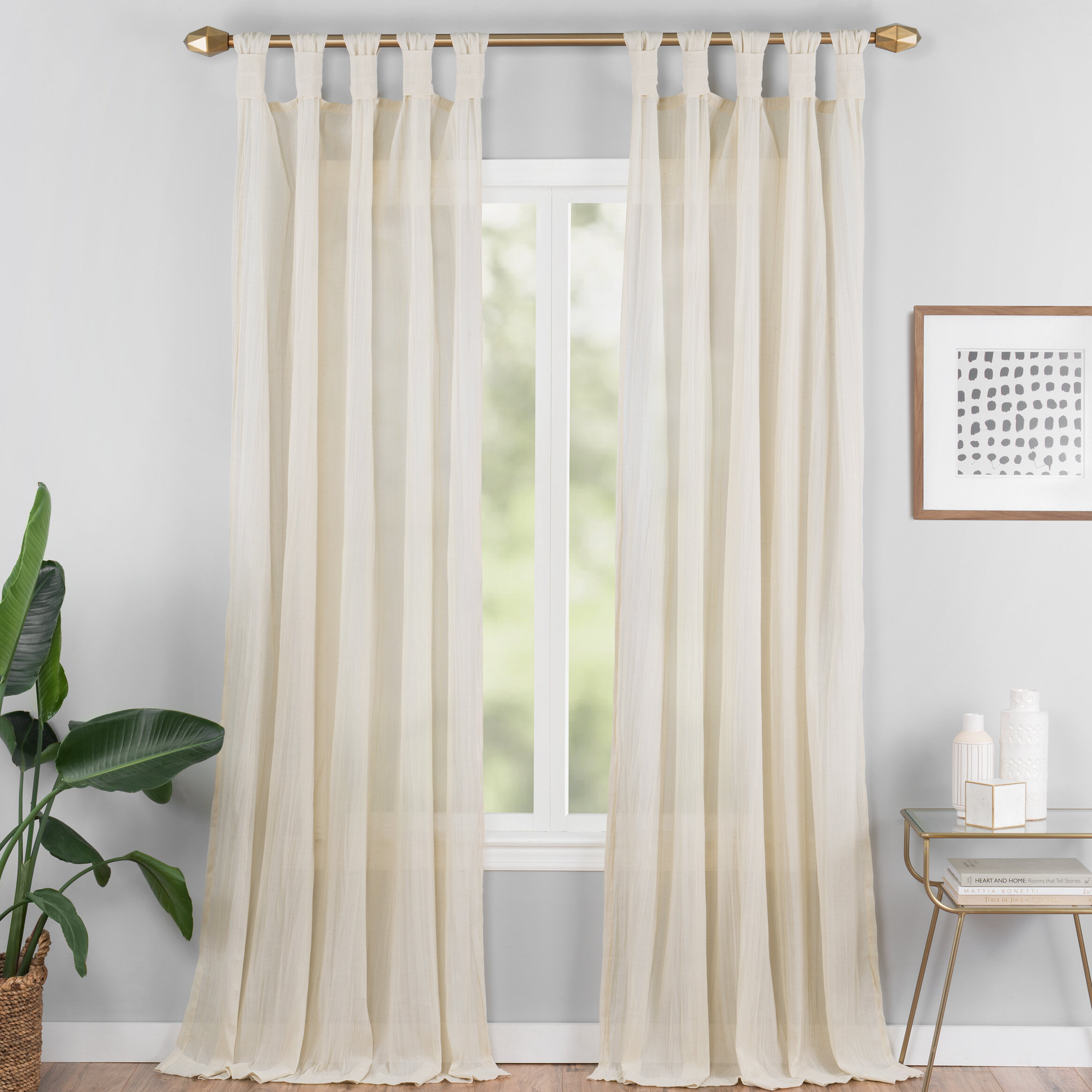 Connors Solid Semi Sheer Tab Top Single Curtain Panel For Tab Top Sheer Single Curtain Panels (View 8 of 30)