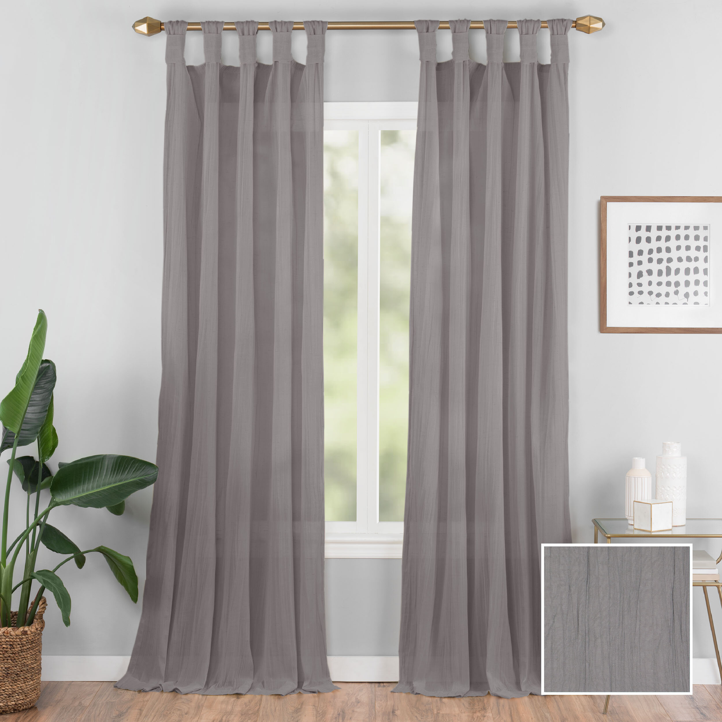 Connors Solid Semi Sheer Tab Top Single Curtain Panel Throughout Tab Top Sheer Single Curtain Panels (View 5 of 30)
