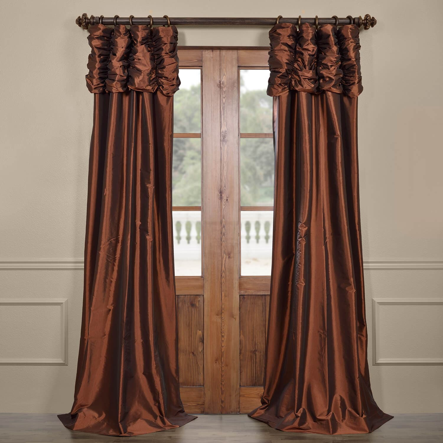 Copper Curtains Panels | Flisol Home For Copper Grove Fulgence Faux Silk Grommet Top Panel Curtains (View 20 of 20)