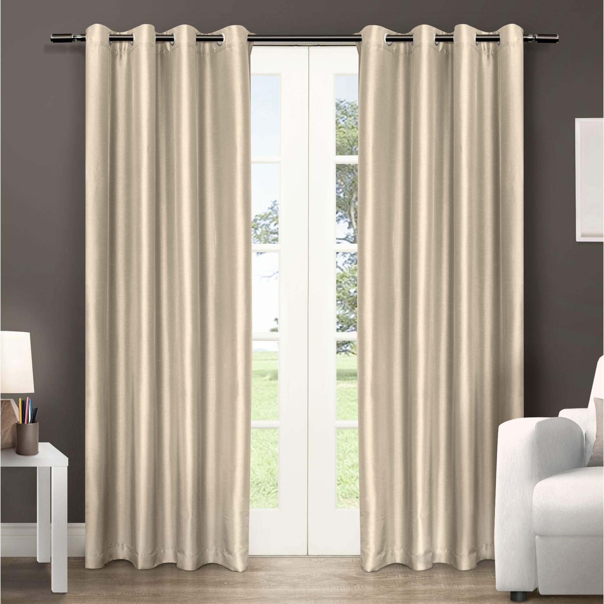Copper Grove Fulgence Faux Silk Grommet Top Panel Curtains – N/ A Inside Copper Grove Fulgence Faux Silk Grommet Top Panel Curtains (View 4 of 20)
