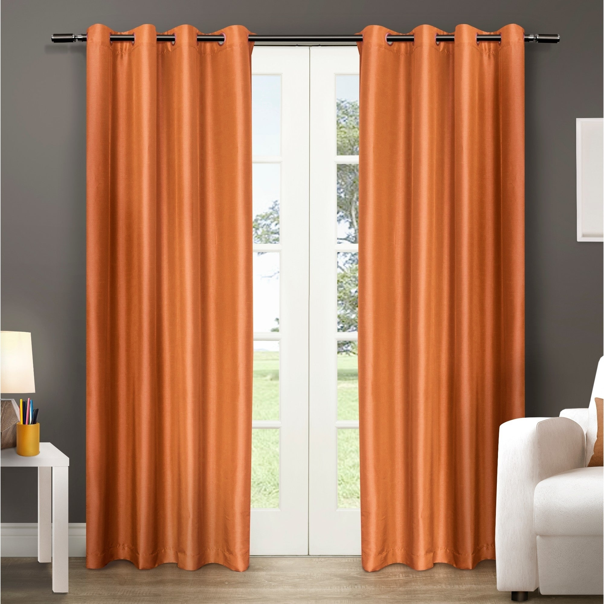 Copper Grove Fulgence Faux Silk Grommet Top Panel Curtains – N/ A With Copper Grove Fulgence Faux Silk Grommet Top Panel Curtains (View 12 of 20)