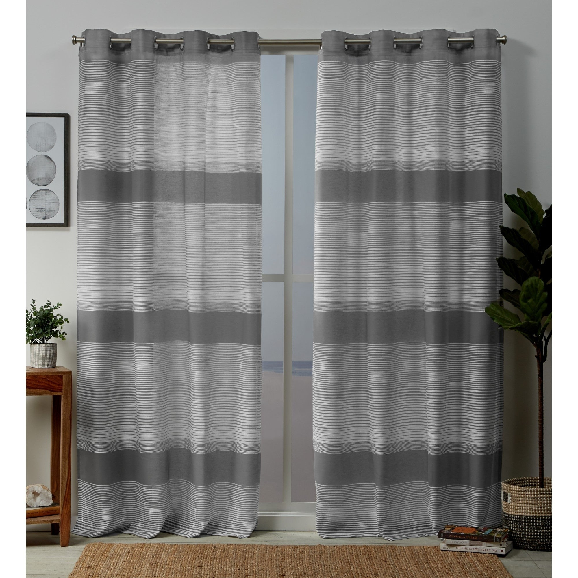 Copper Grove Panagyurishte Striped Grommet Top Curtain Panel Pair Throughout Wilshire Burnout Grommet Top Curtain Panel Pairs (View 12 of 30)