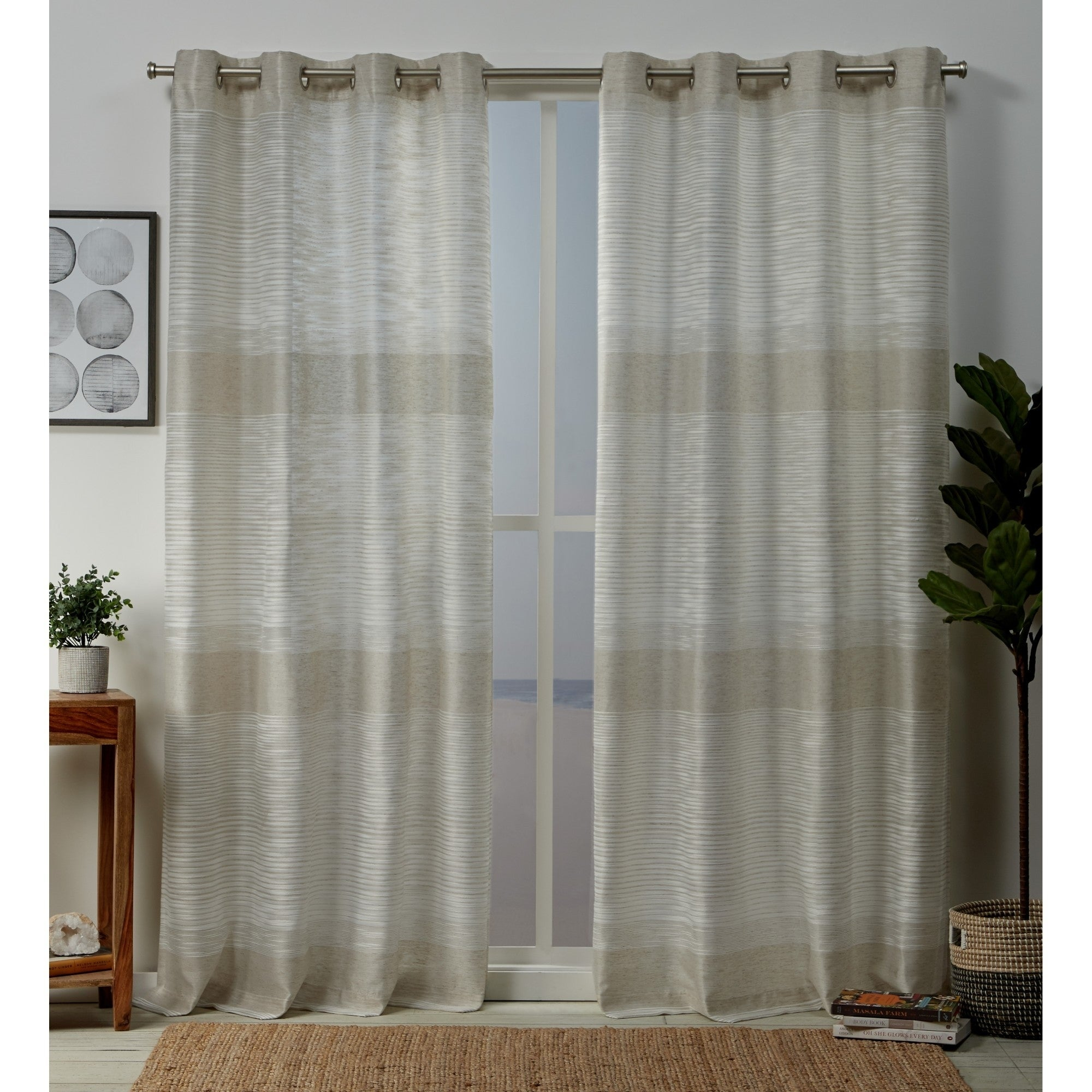 Copper Grove Panagyurishte Striped Grommet Top Curtain Panel Pair With Regard To Wilshire Burnout Grommet Top Curtain Panel Pairs (View 13 of 30)