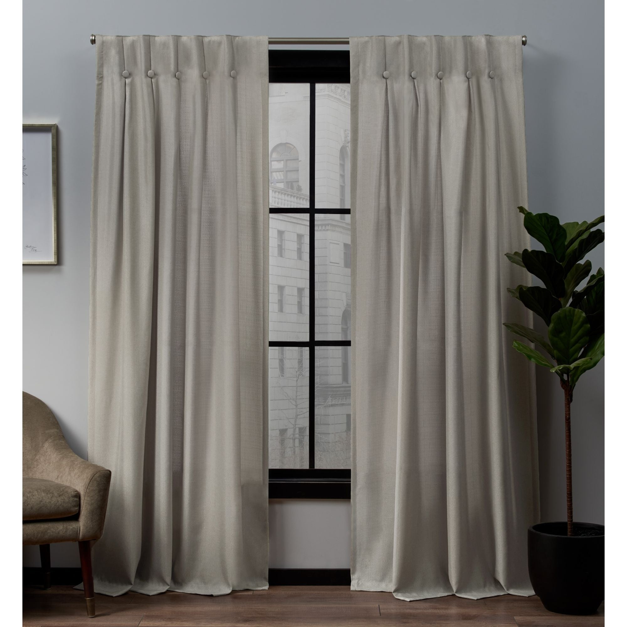 Copper Grove Popovo Linen Button Top Window Curtain Panel Pair Within The Gray Barn Kind Koala Curtain Panel Pairs (View 9 of 30)