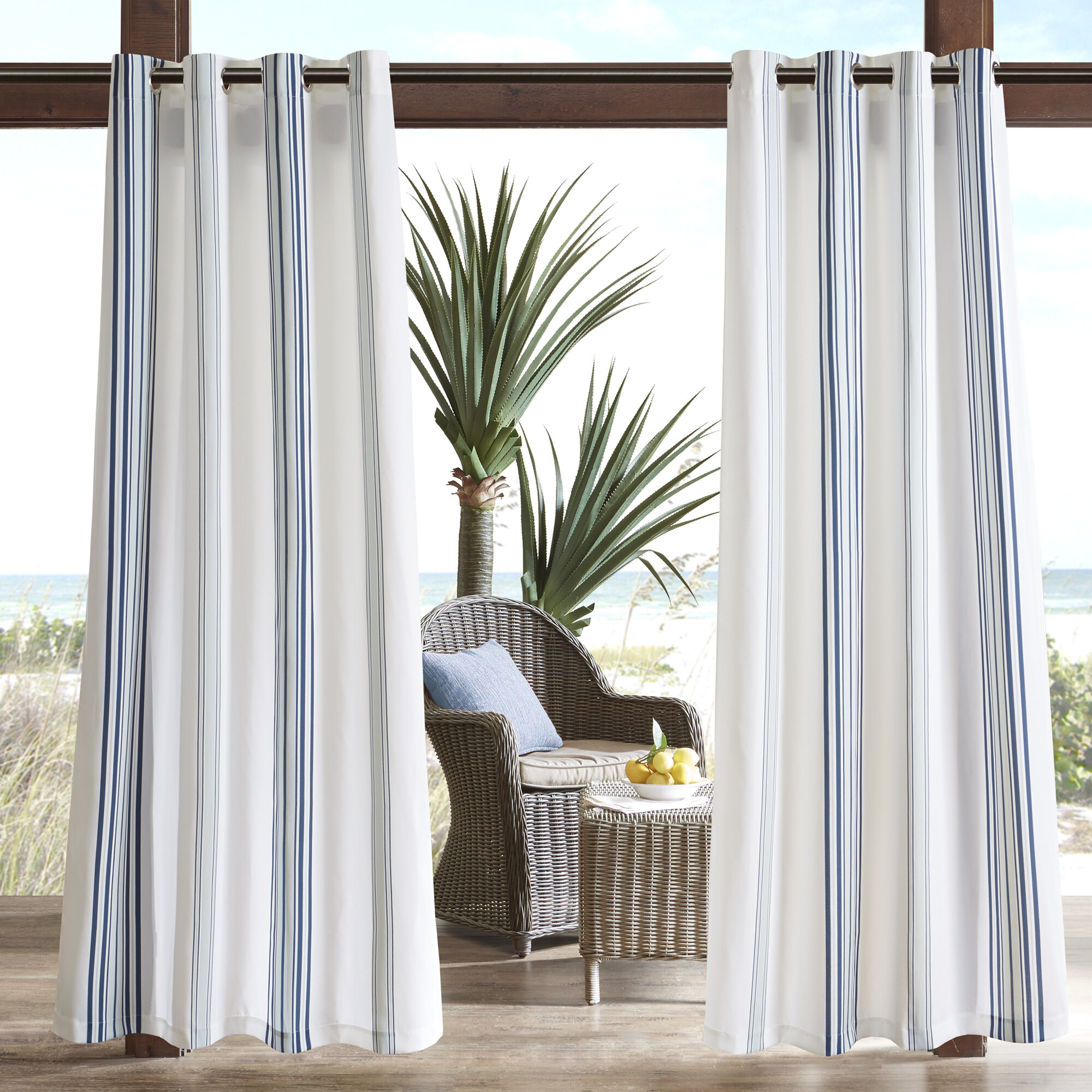 Corbin Striped Light Filtering Outdoor Single Curtain Panel Regarding Valencia Cabana Stripe Indoor/outdoor Curtain Panels (View 22 of 30)