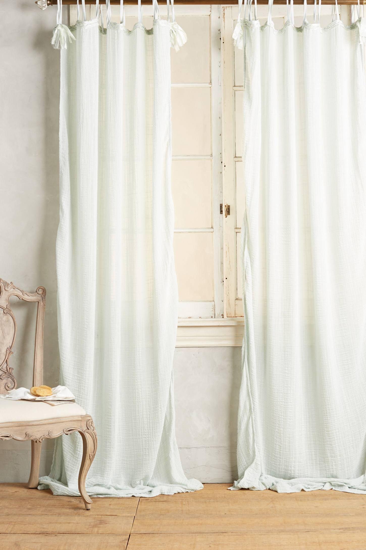 Cotton Tie Top Curtain | Tie Top Curtains, Curtains, Drapes Regarding Elrene Jolie Tie Top Curtain Panels (View 12 of 20)