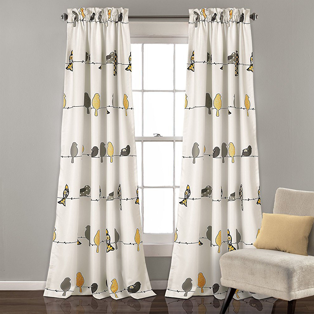 Country Bird Print Cartoon Yellow Gray Window Curtain Panels For Living Room #hdcn1806191514124 Throughout Grey Printed Curtain Panels (View 13 of 20)