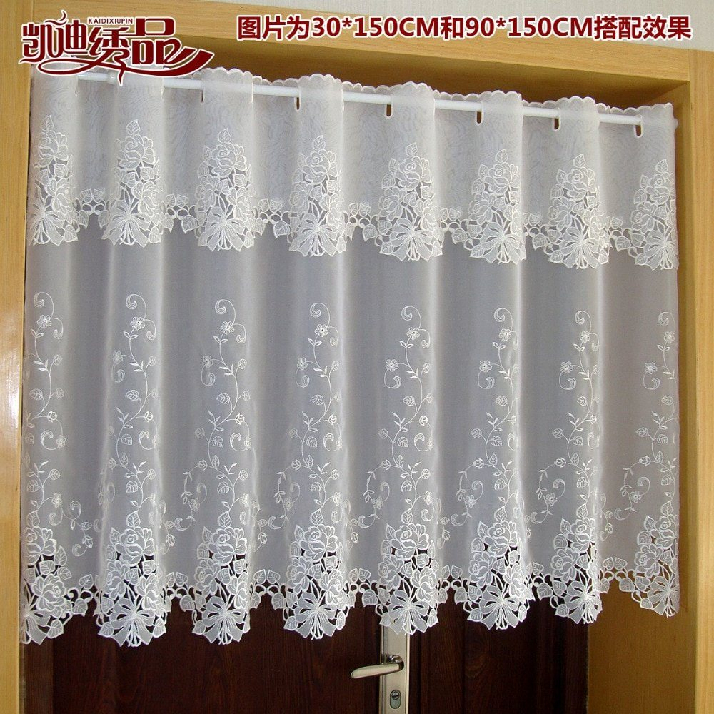 Countryside Half Curtain Luxurious Embroidered Window Best Regarding Luxurious Old World Style Lace Window Curtain Panels (View 12 of 20)