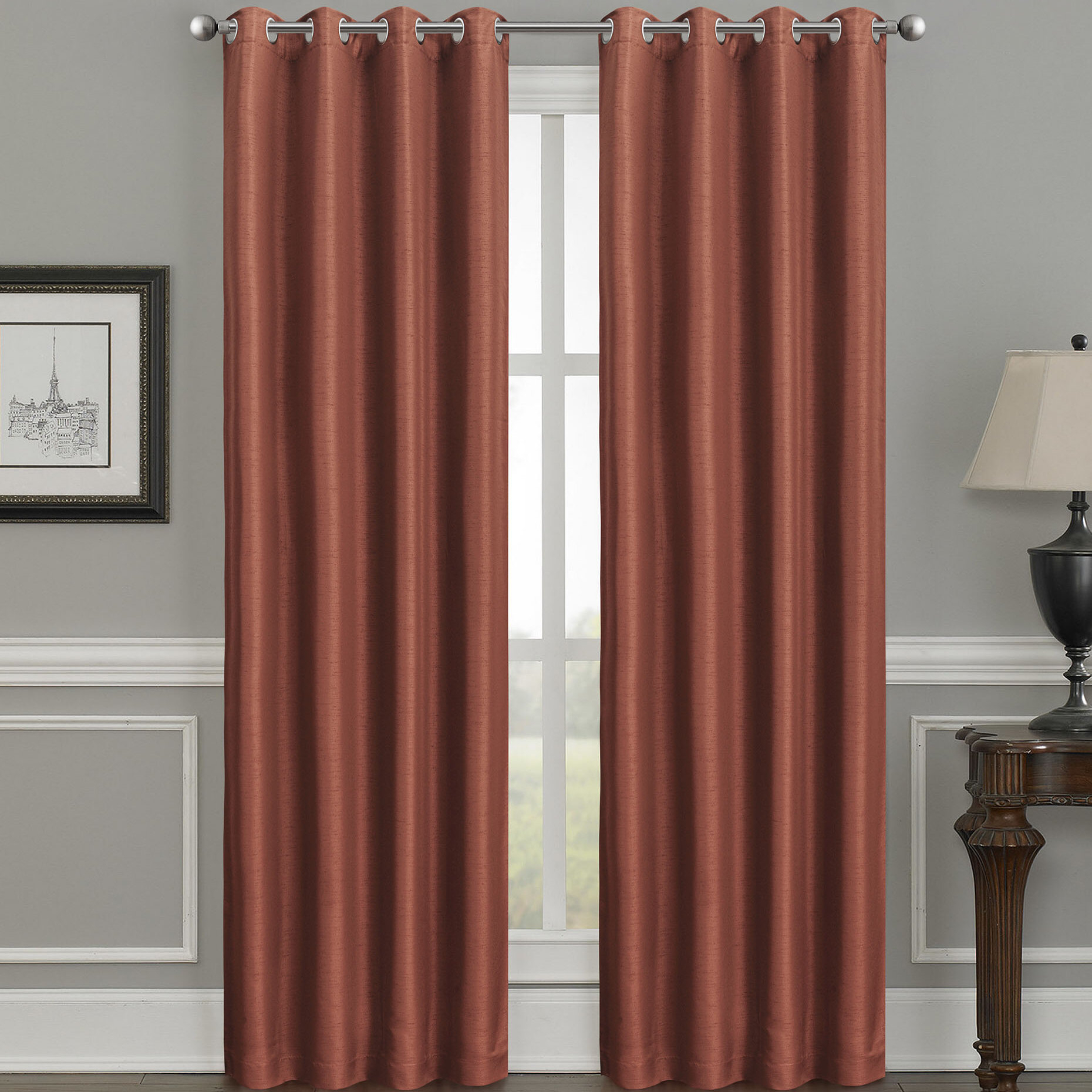 Cray Luxury Solid Color Room Darkening Thermal Grommet Single Curtain Panel Regarding Luxury Collection Faux Leather Blackout Single Curtain Panels (View 14 of 20)