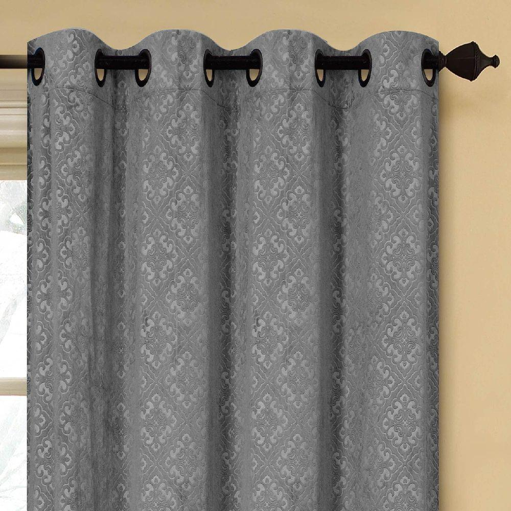 Creative Home Ideas Semi Opaque Matine Trellis Extra Wide Charcoal Embossed Velvet Grommet Curtain – Panel – 54 In. W X 84 In (View 23 of 31)